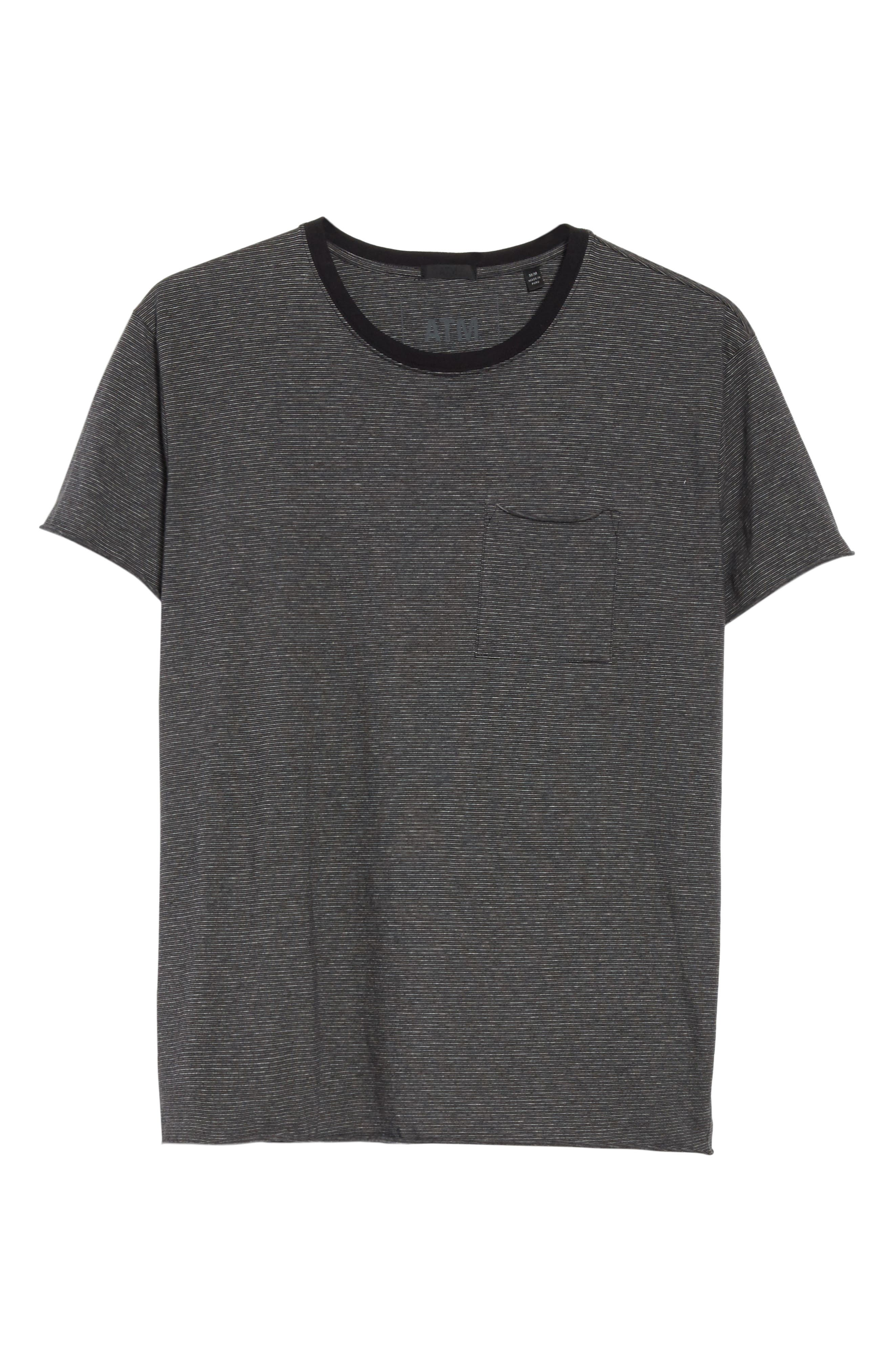 Oversize Stripe Pocket T-Shirt,                             Alternate thumbnail 6, color,