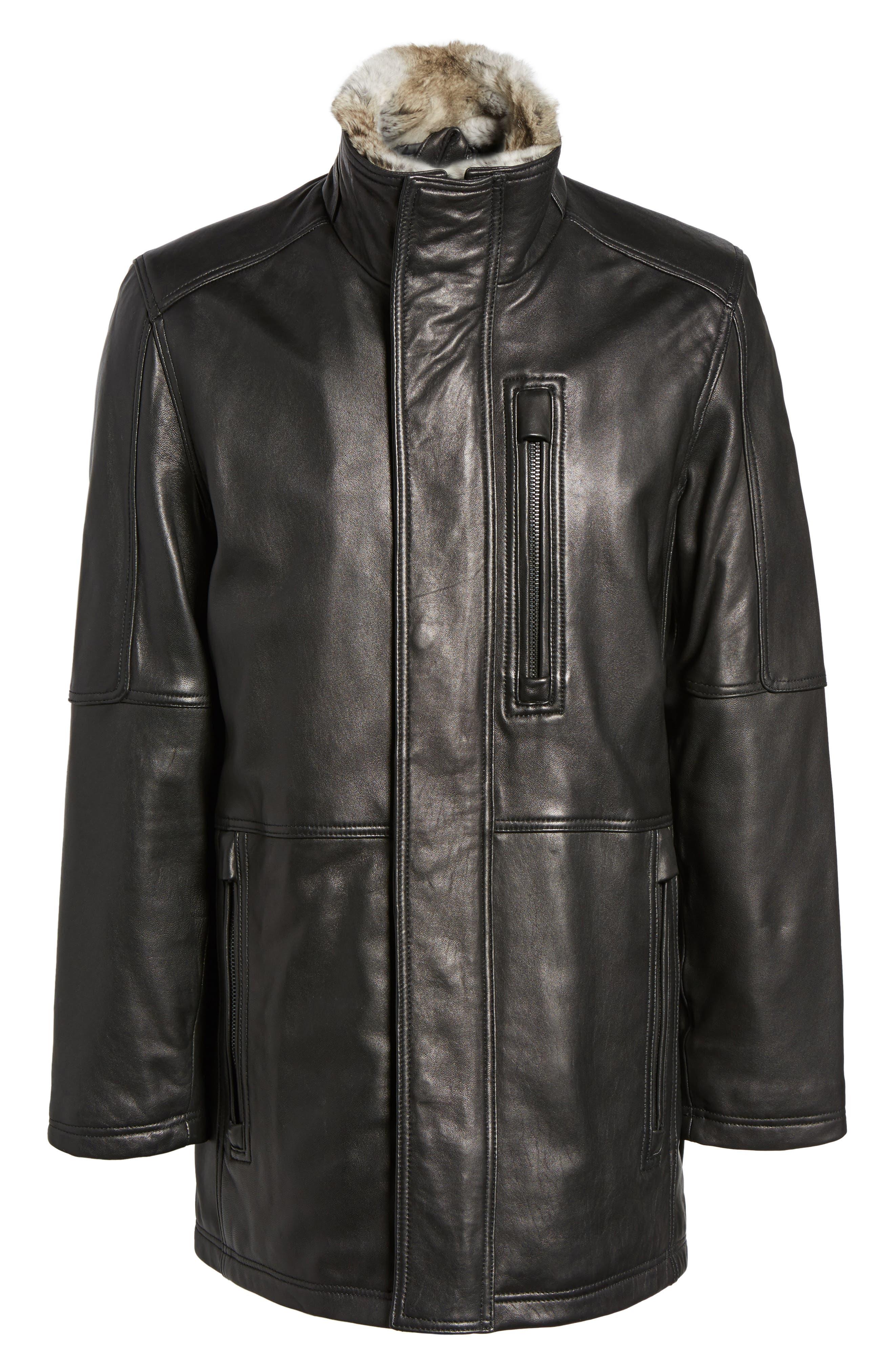Middlebury Leather Car Coat with Genuine Rabbit Fur Trim,                             Alternate thumbnail 6, color,                             001