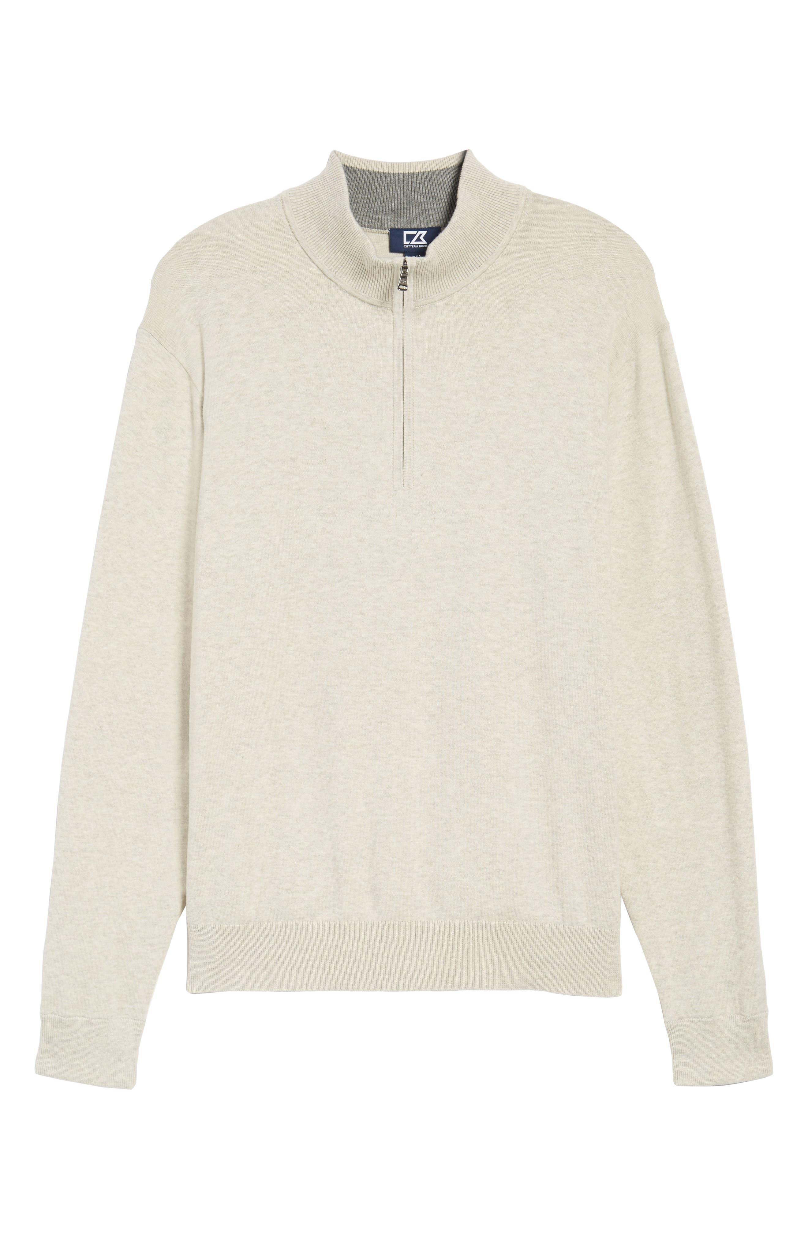 CUTTER & BUCK,                             Lakemont Classic Fit Quarter Zip Sweater,                             Alternate thumbnail 6, color,                             OATMEAL HEATHER