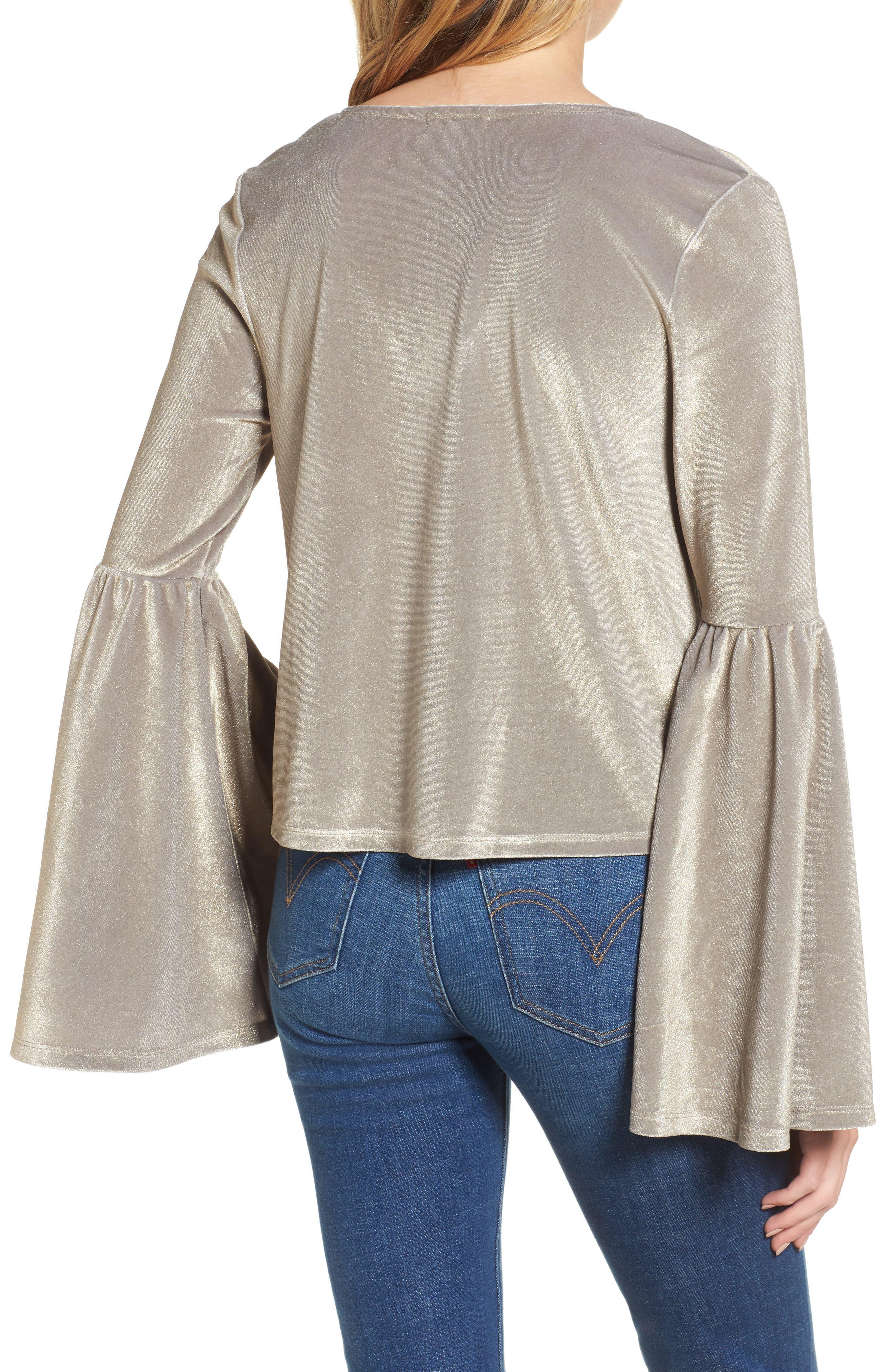 Velour Bell Sleeve Top,                             Alternate thumbnail 2, color,                             710
