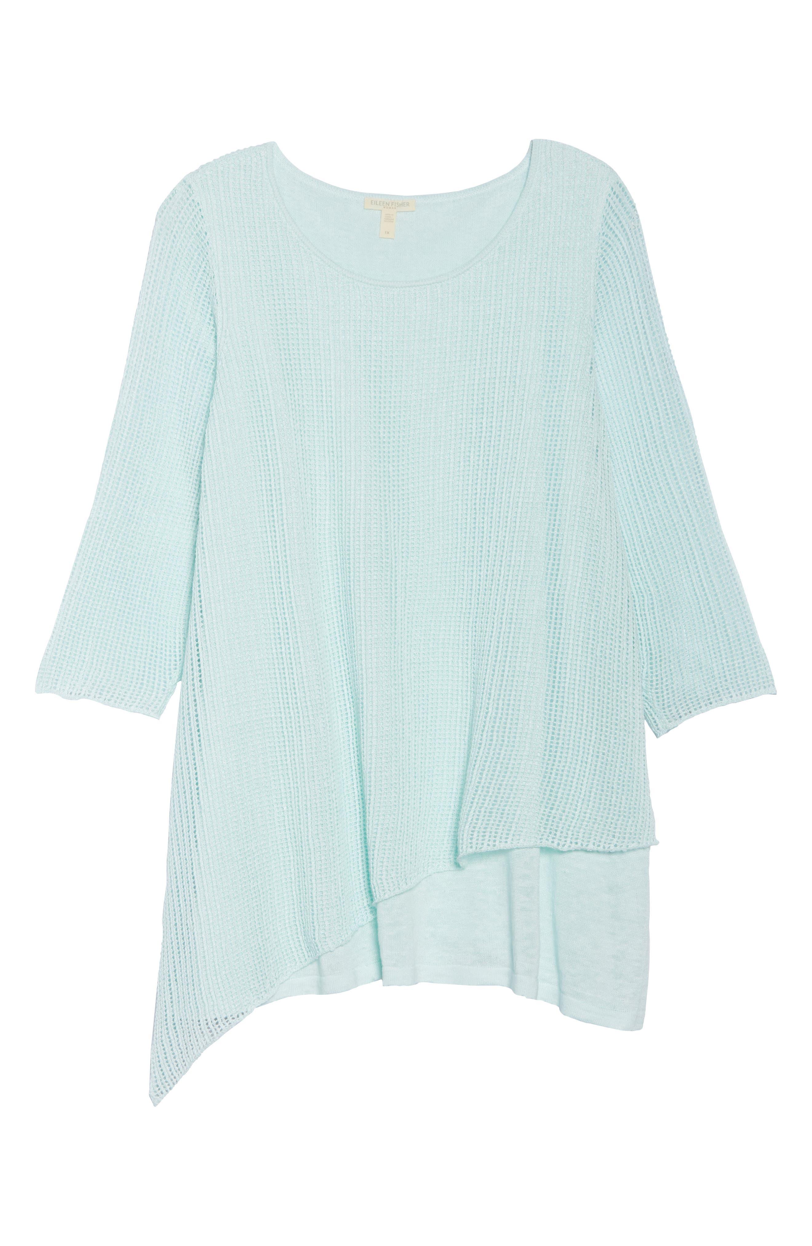 Layered Organic Linen Tunic Sweater,                             Alternate thumbnail 18, color,