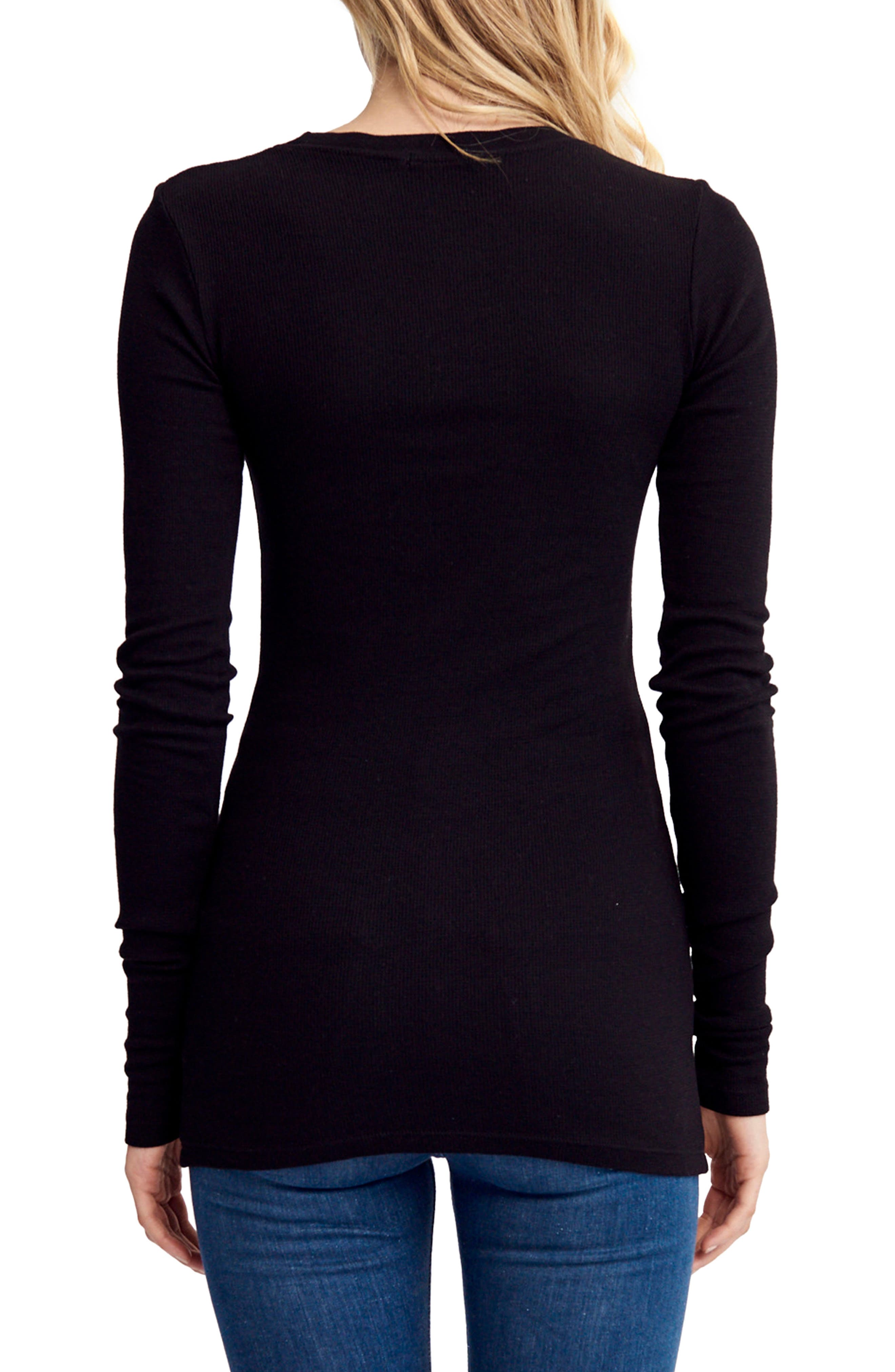 Thermal Knit Top,                             Alternate thumbnail 2, color,                             001