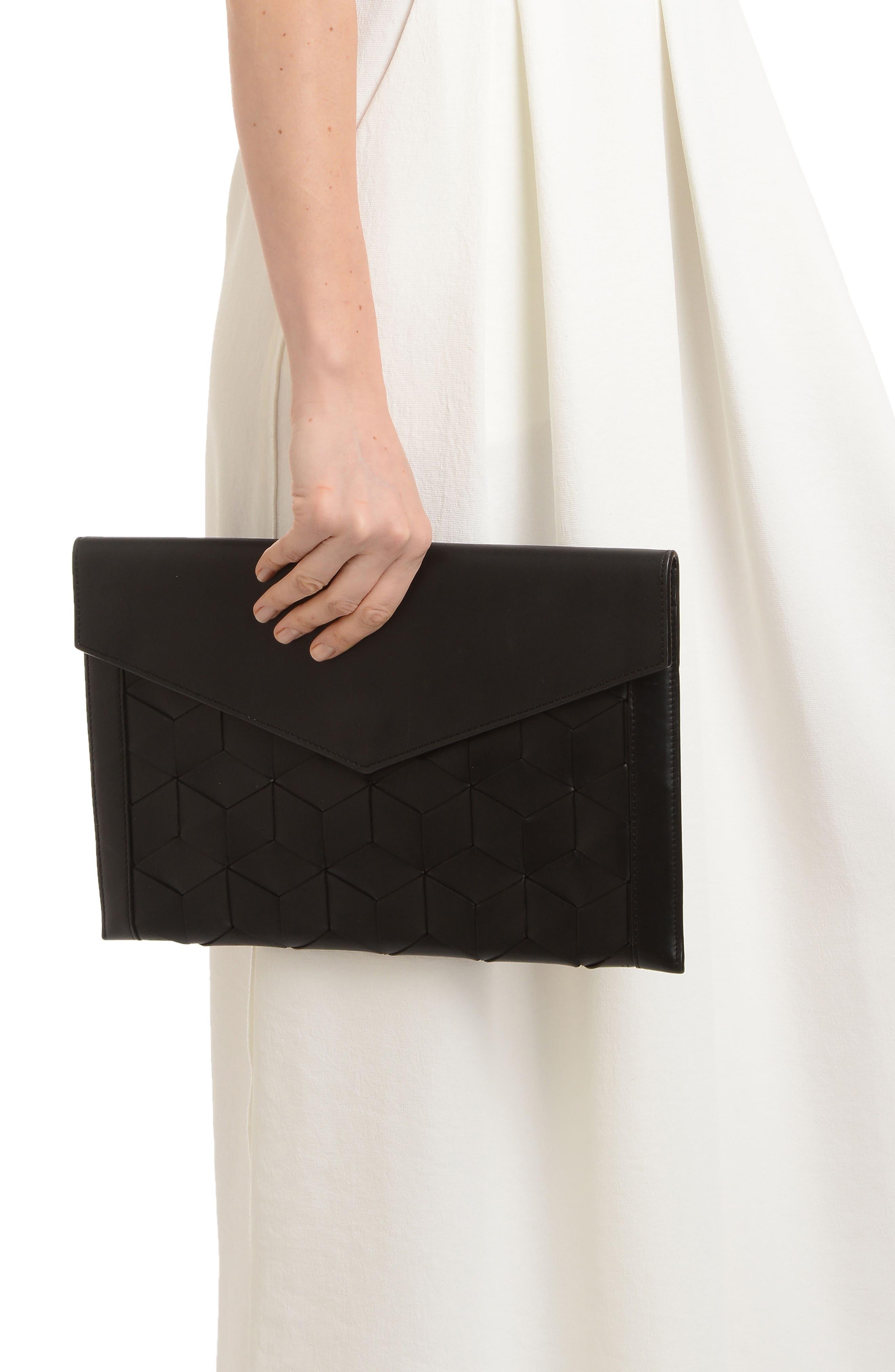 Mingle Woven Calfskin Leather Clutch,                             Alternate thumbnail 7, color,                             BLACK