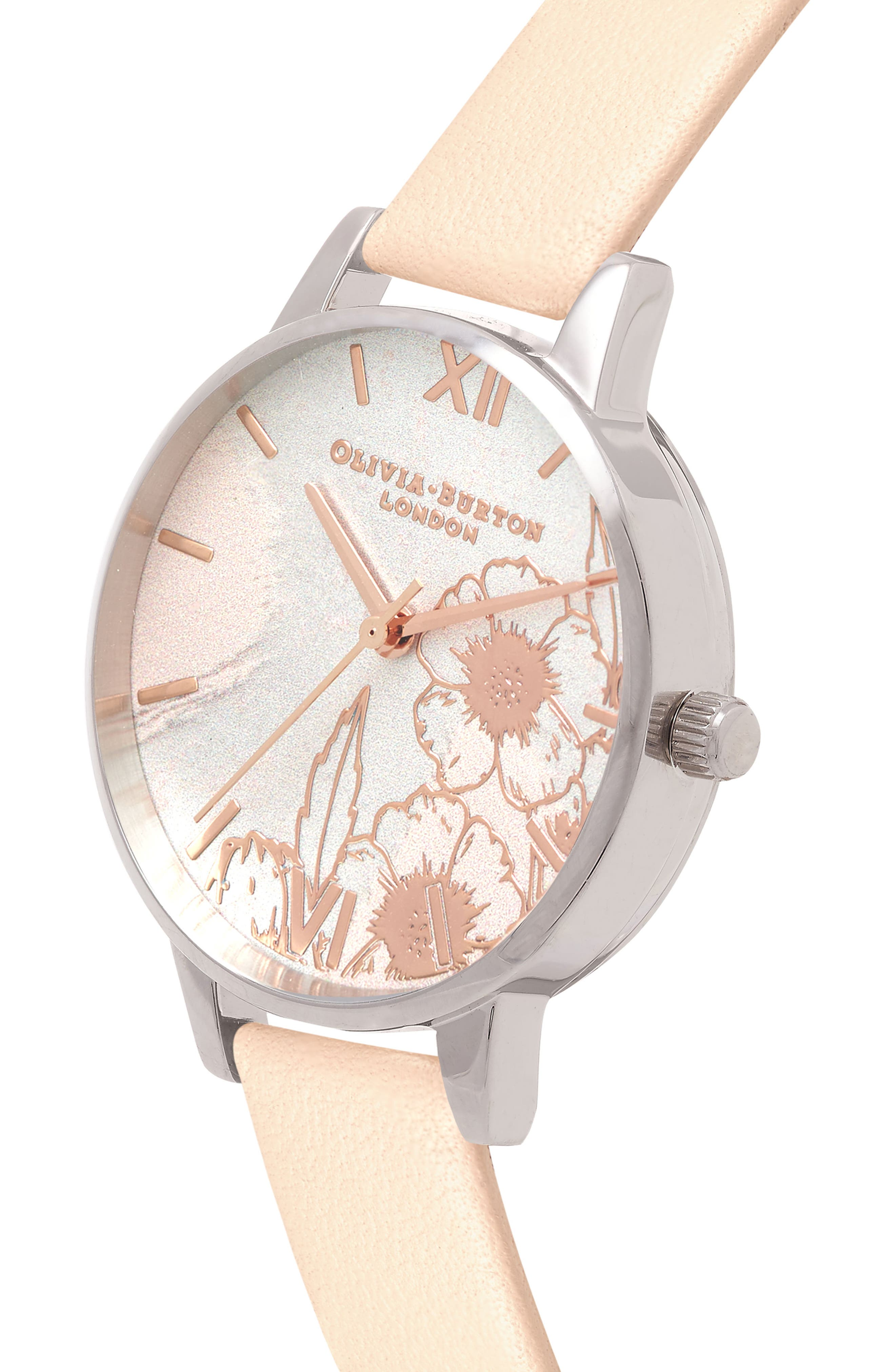 Abstract Floral Leather Strap Watch, 30mm,                             Alternate thumbnail 3, color,                             NUDE PEACH/ FLORAL/ SILVER