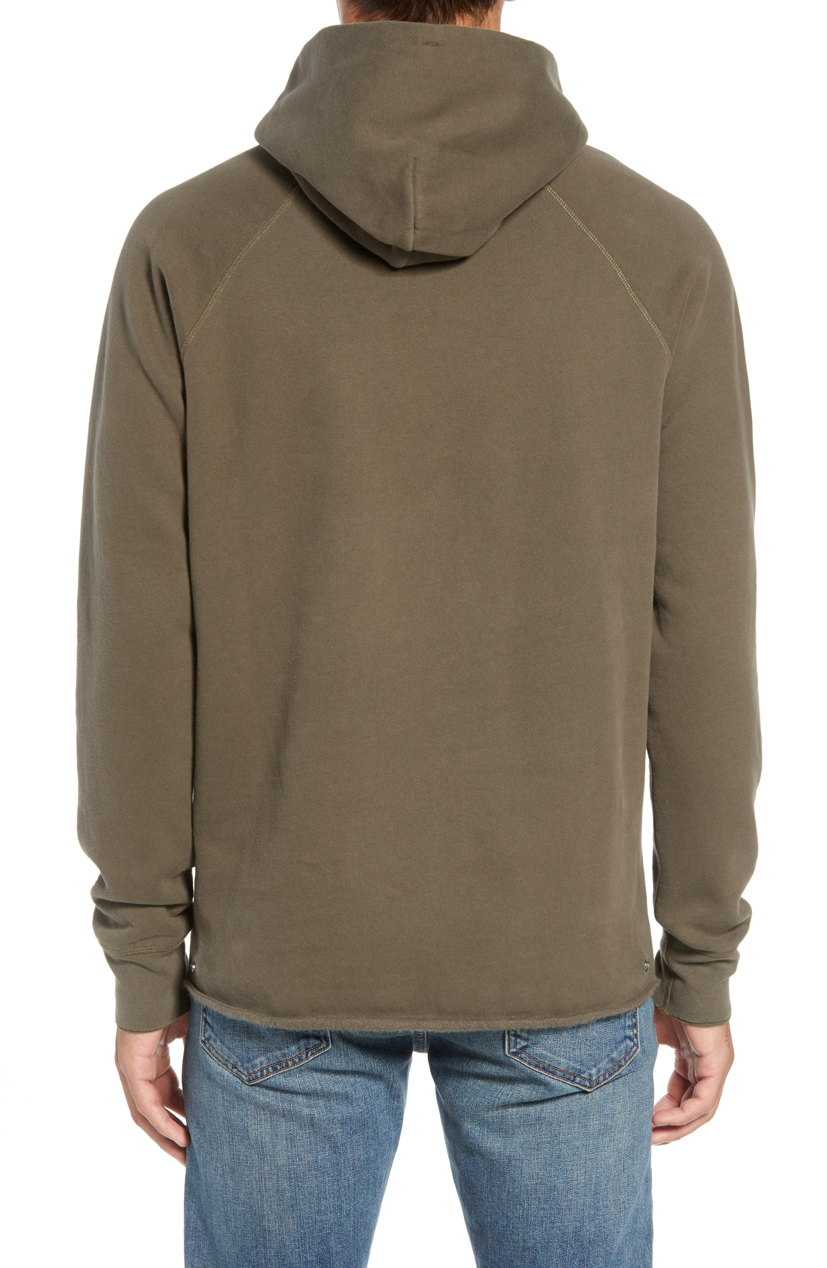 Unhemmed Regular Fit Hoodie,                             Alternate thumbnail 2, color,                             ARMY GREEN