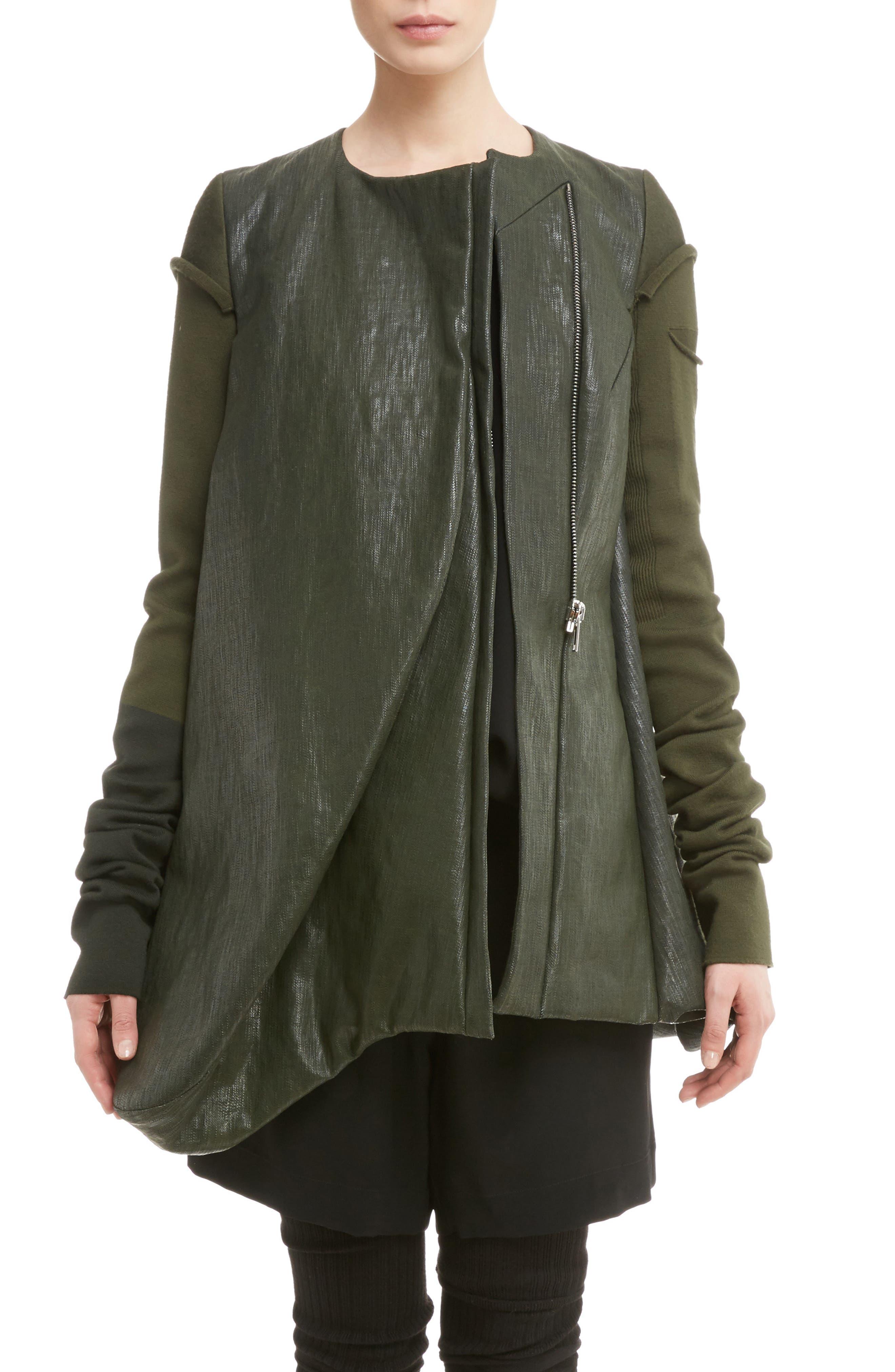 Knit Sleeve Waxed Cotton Jacket,                         Main,                         color,
