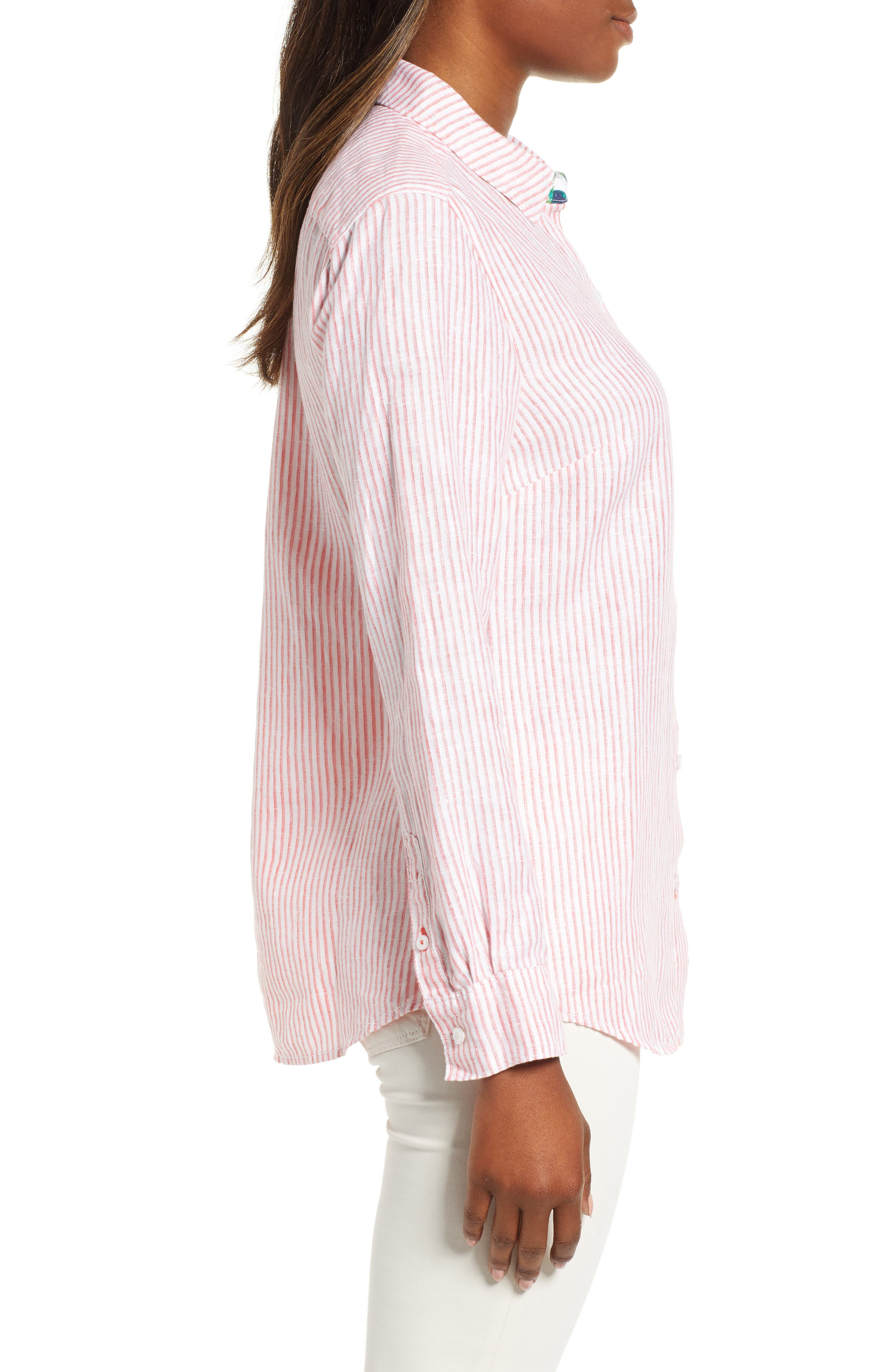 Crystalline Waters Long Sleeve Shirt,                             Alternate thumbnail 3, color,                             DUBARRY CORAL