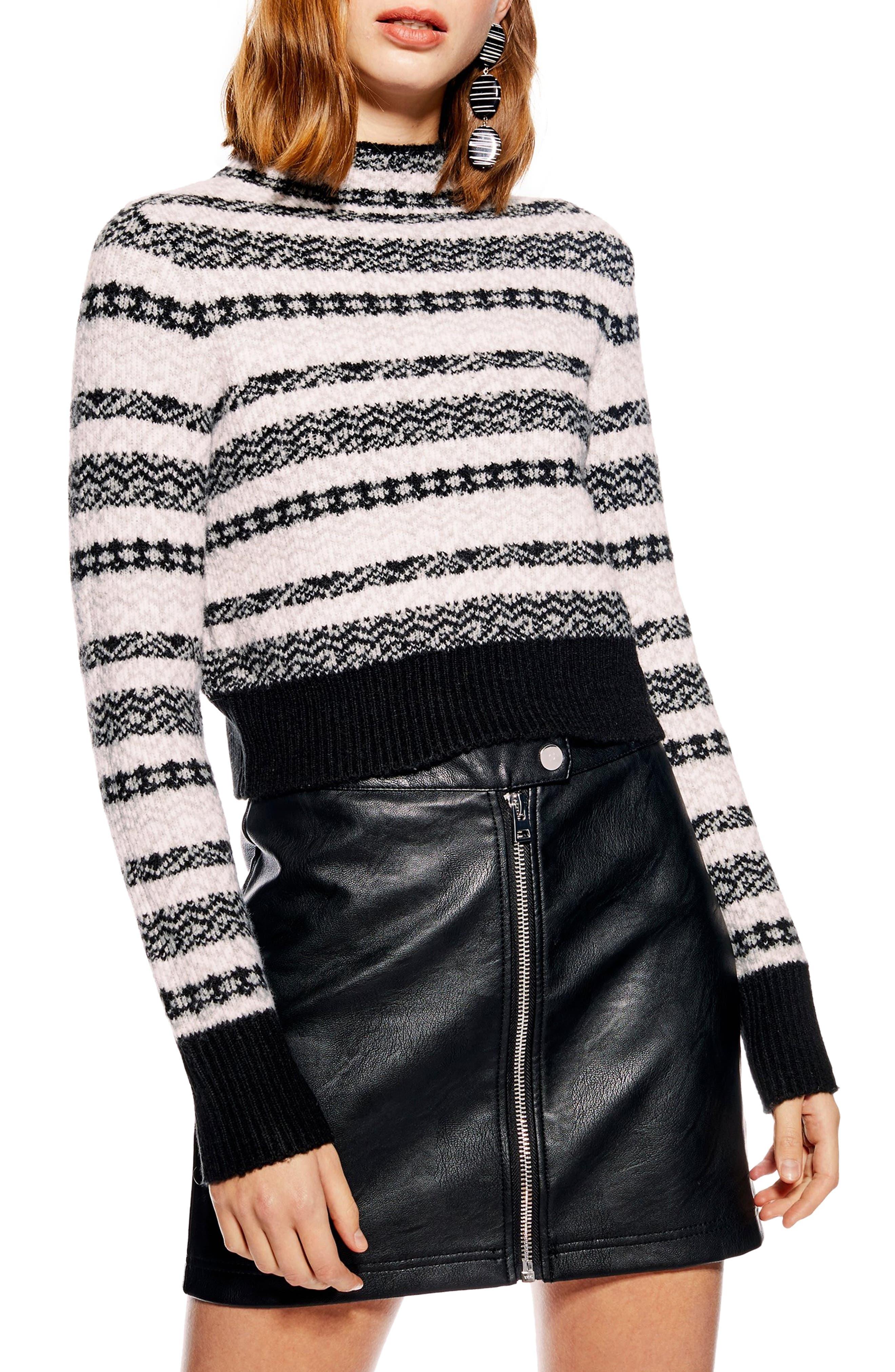 Fair Isle Crop Sweater,                             Main thumbnail 1, color,                             BLACK MULTI