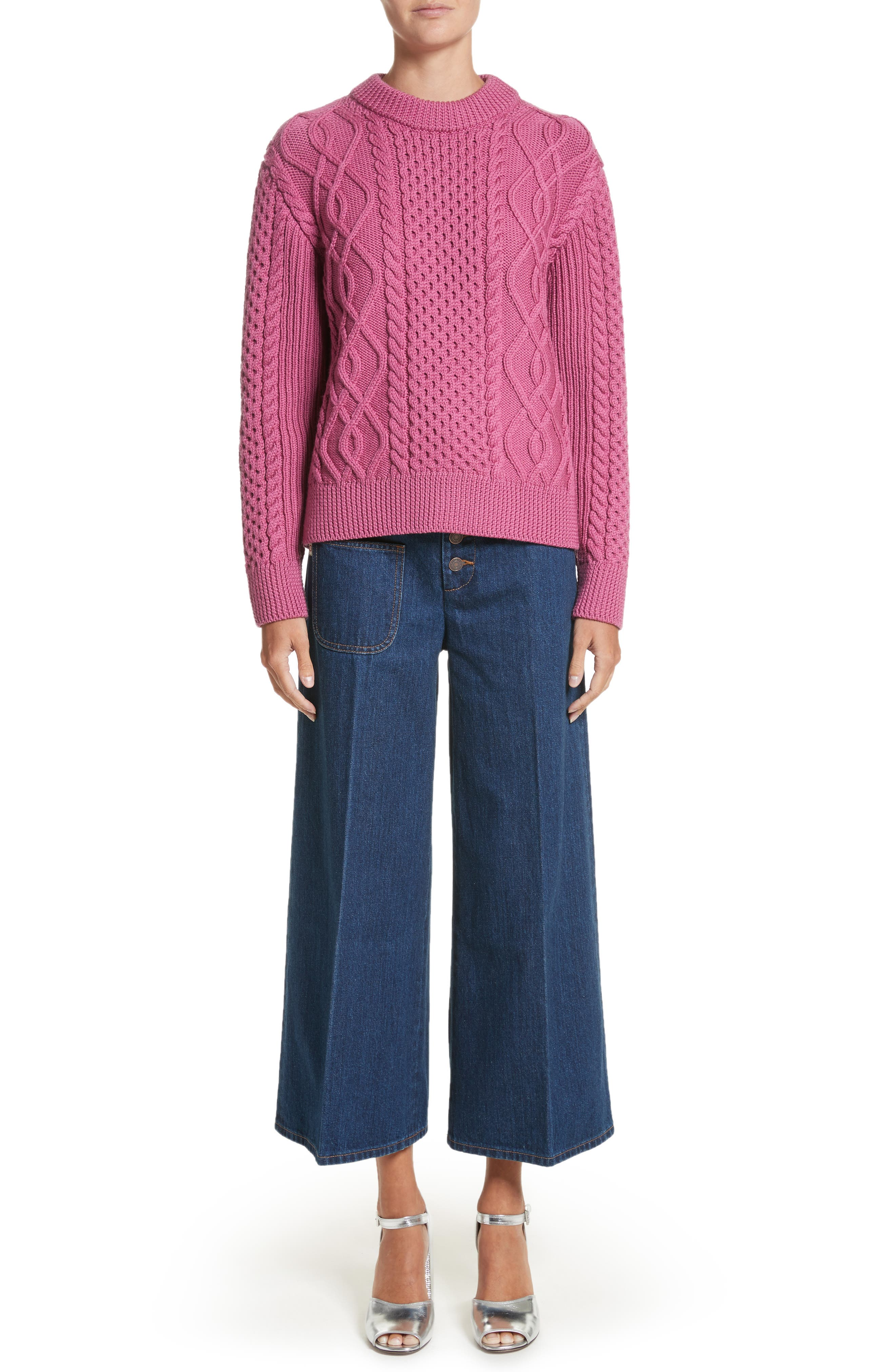 Merino Wool Cable Knit Sweater,                             Alternate thumbnail 7, color,
