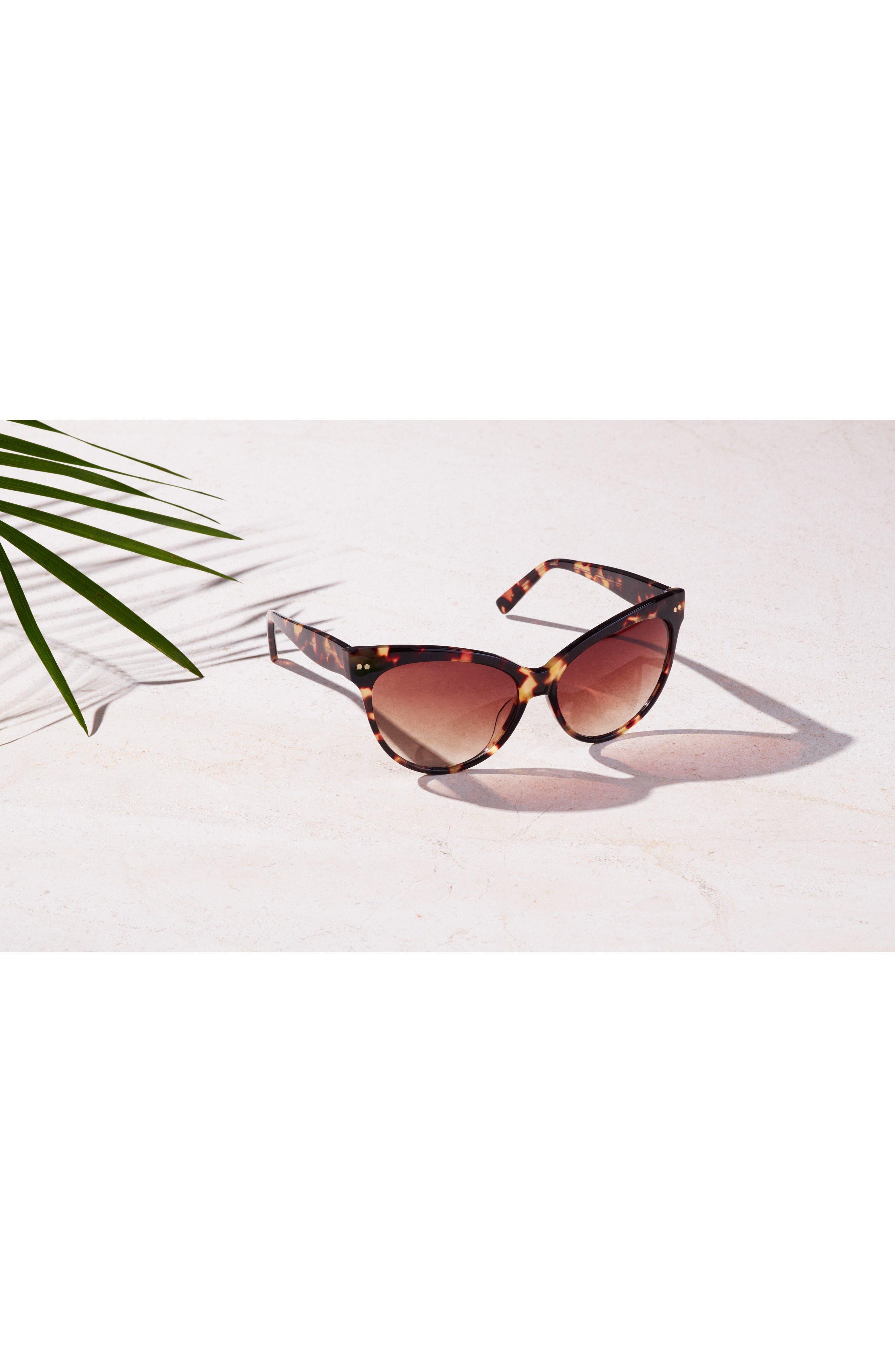 Audrey 60mm Cat Eye Sunglasses,                             Alternate thumbnail 5, color,                             WHITE