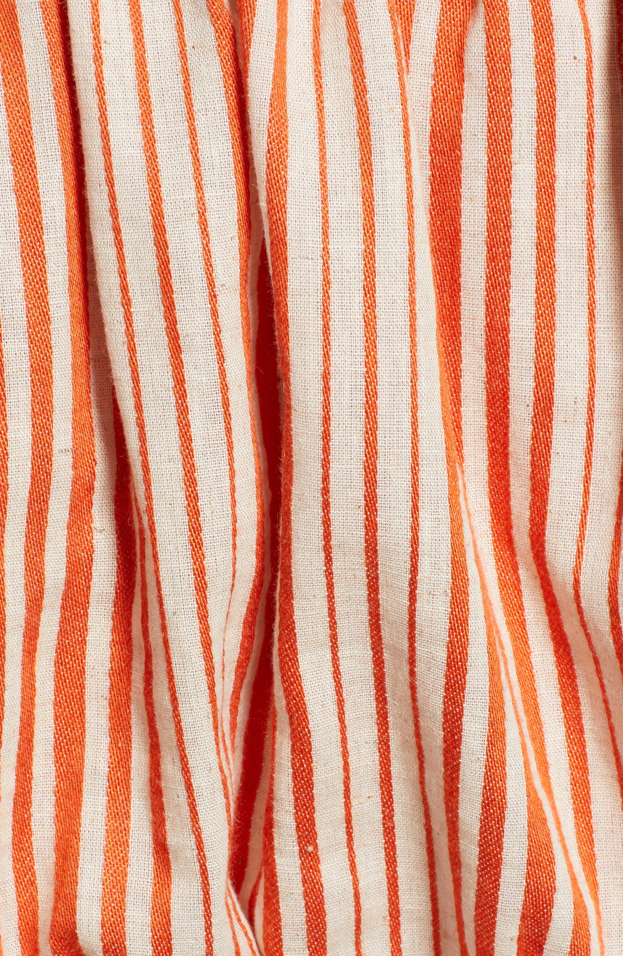 Stripe Off the Shoulder Linen & Cotton Top,                             Alternate thumbnail 5, color,                             800
