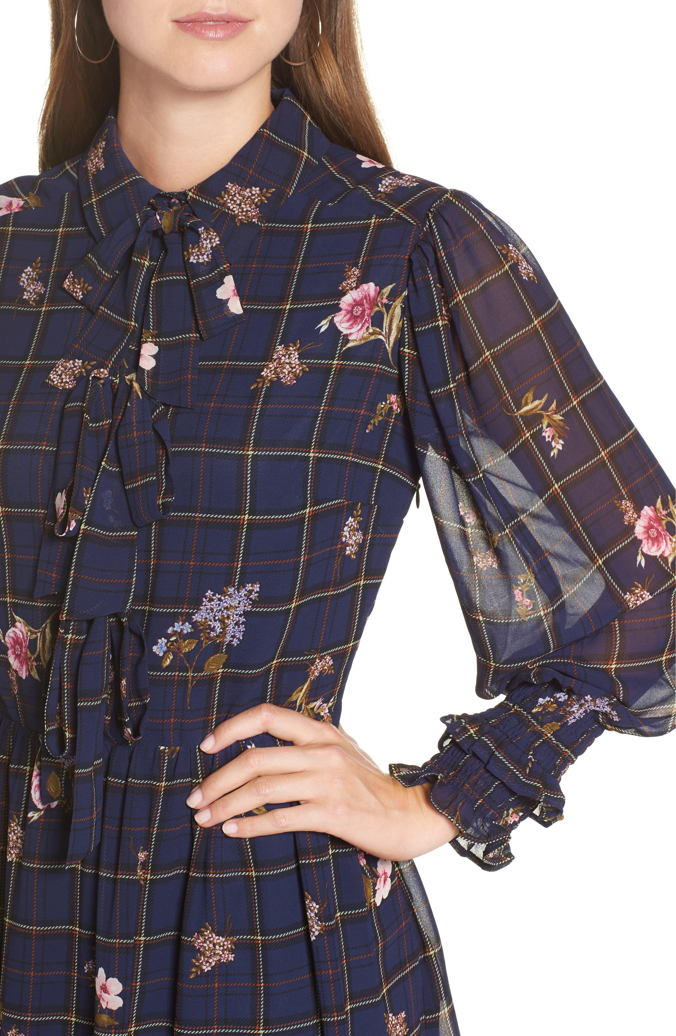Three-Bow Long Sleeve Dress,                             Alternate thumbnail 4, color,                             NAVY PLAID FLORAL