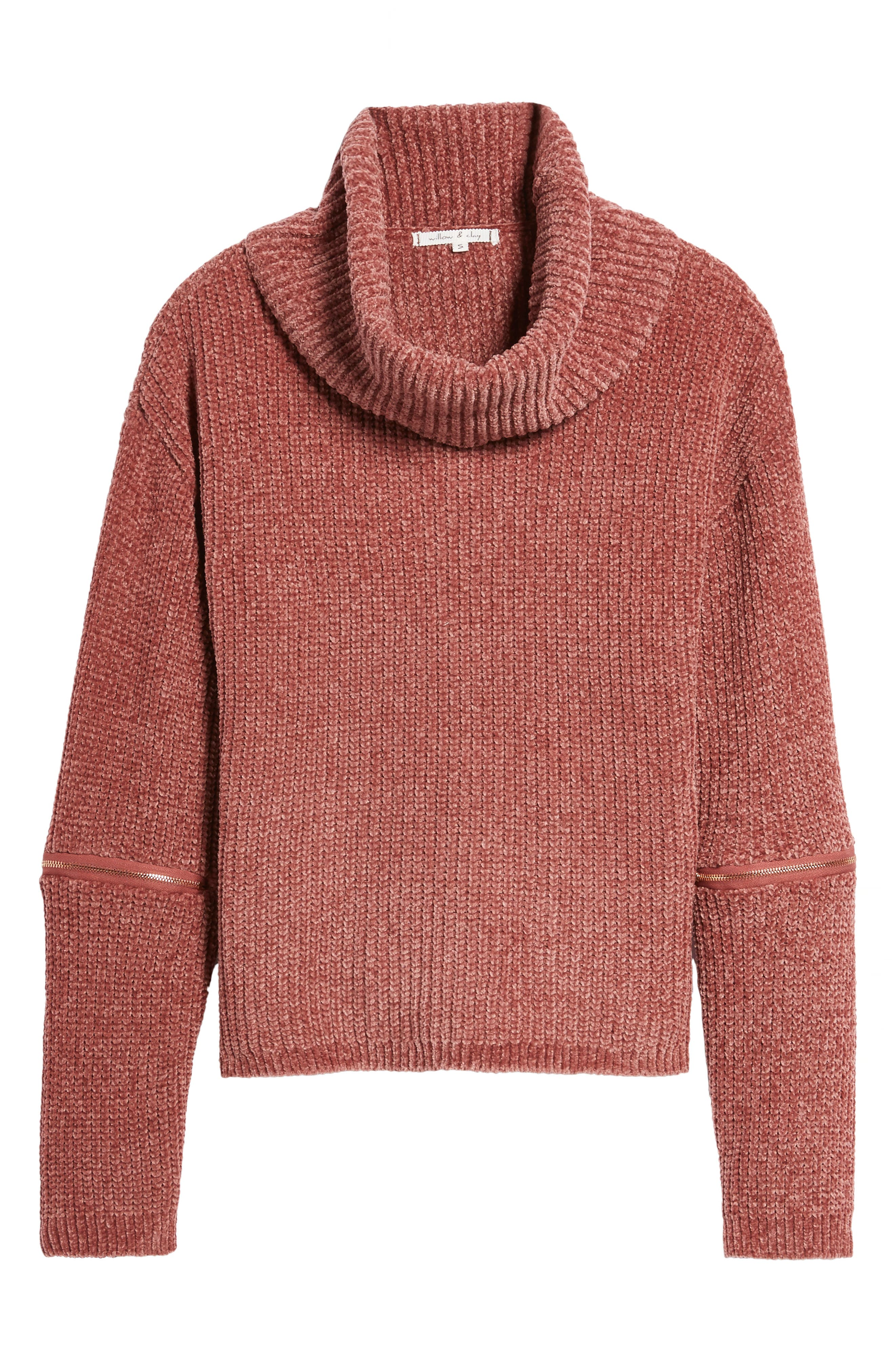 Zip Sleeve Turtleneck Sweater,                             Alternate thumbnail 6, color,                             566