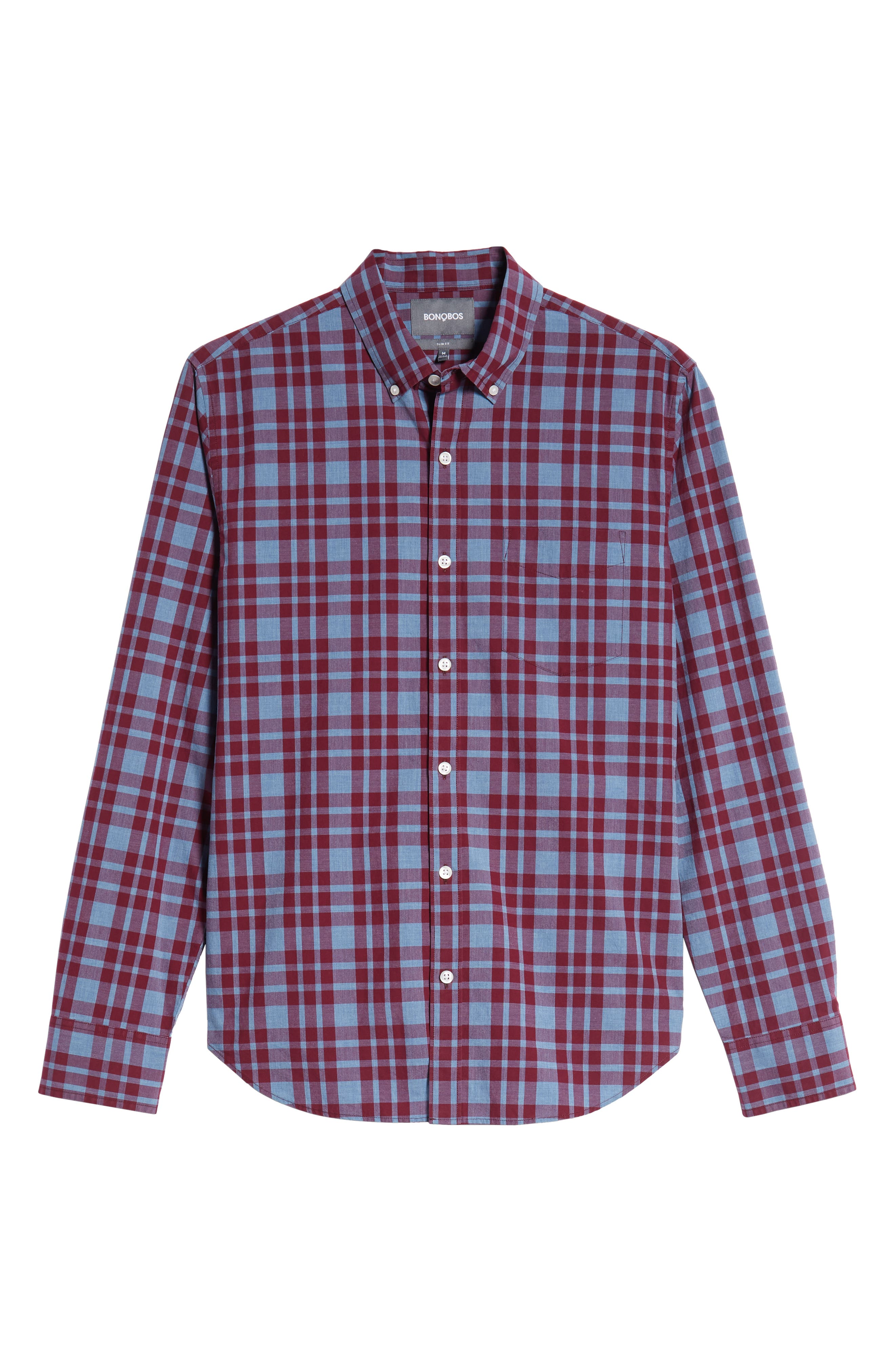 Washed Button Down Slim Fit Plaid Sport Shirt,                             Alternate thumbnail 5, color,                             HARDY PLAID - HEATHER DENIM