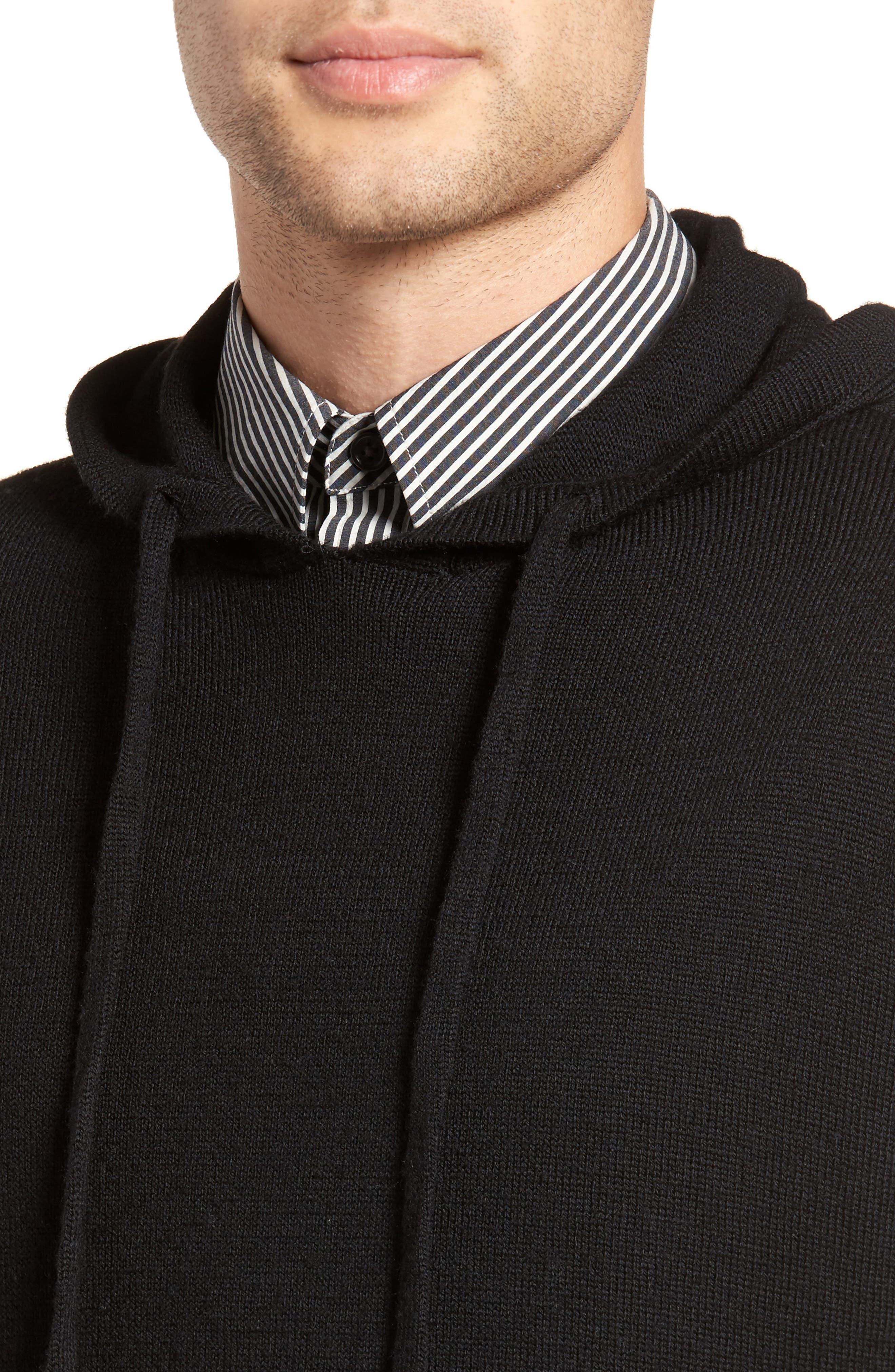 Regular Fit Merino Hooded Sweater,                             Alternate thumbnail 4, color,                             001