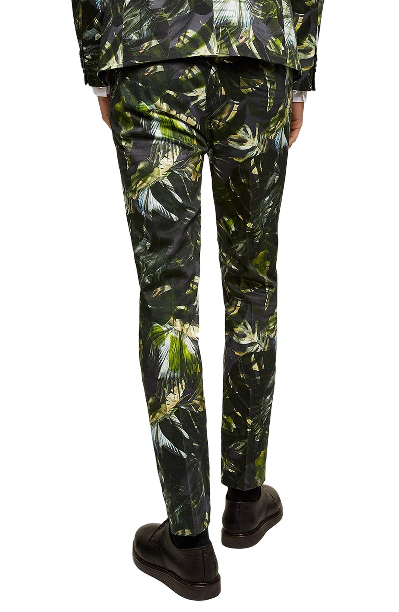 Palm Print Ultra Skinny Smart Pants,                             Alternate thumbnail 2, color,                             300
