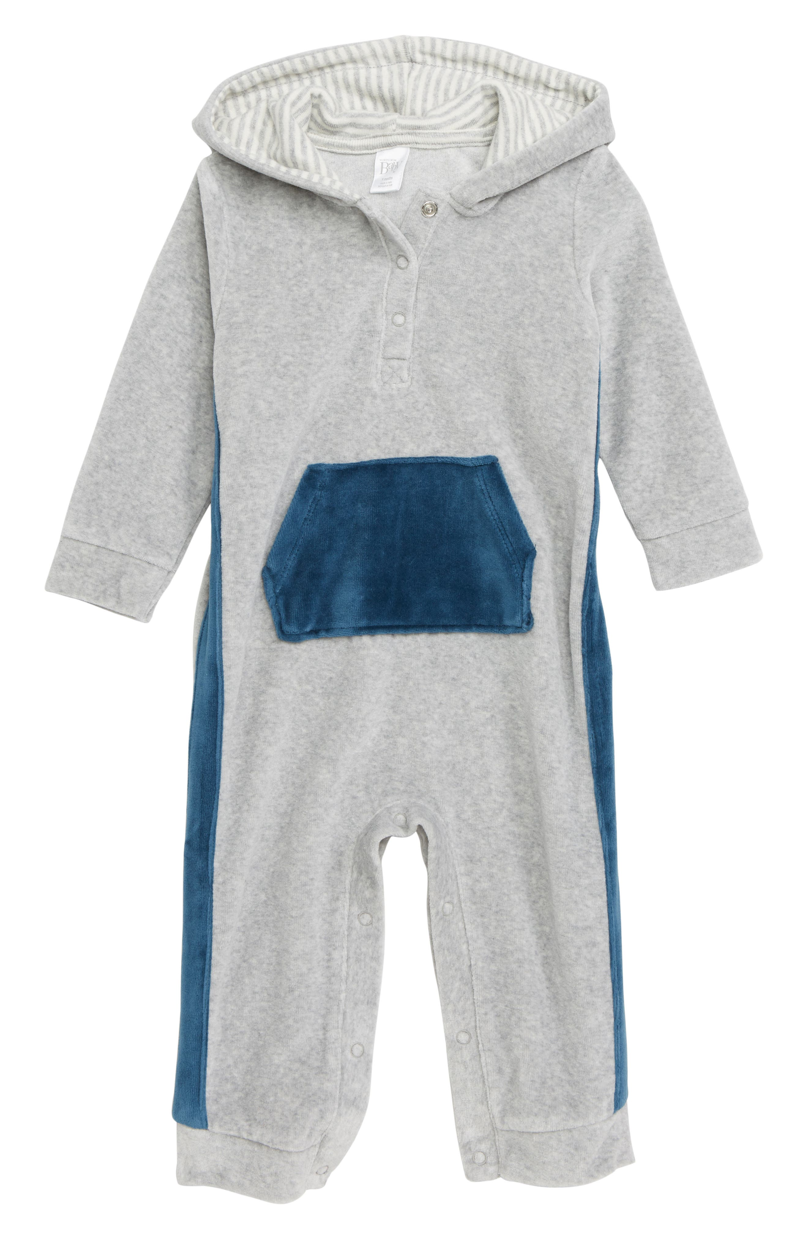 Hooded Velour Romper,                         Main,                         color, GREY ASH HEATHER