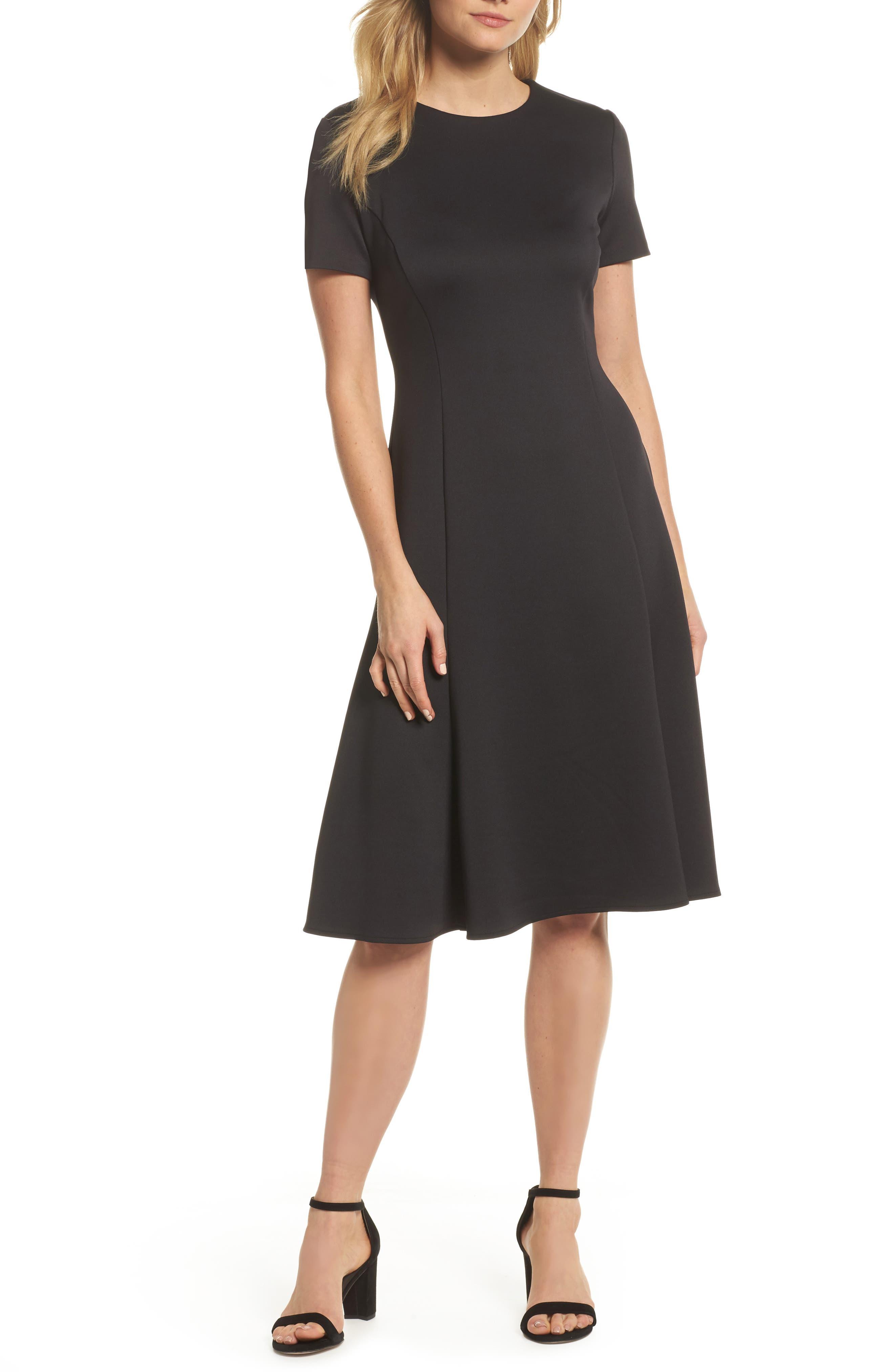 Midi Bell Dress,                             Main thumbnail 1, color,                             BLACK
