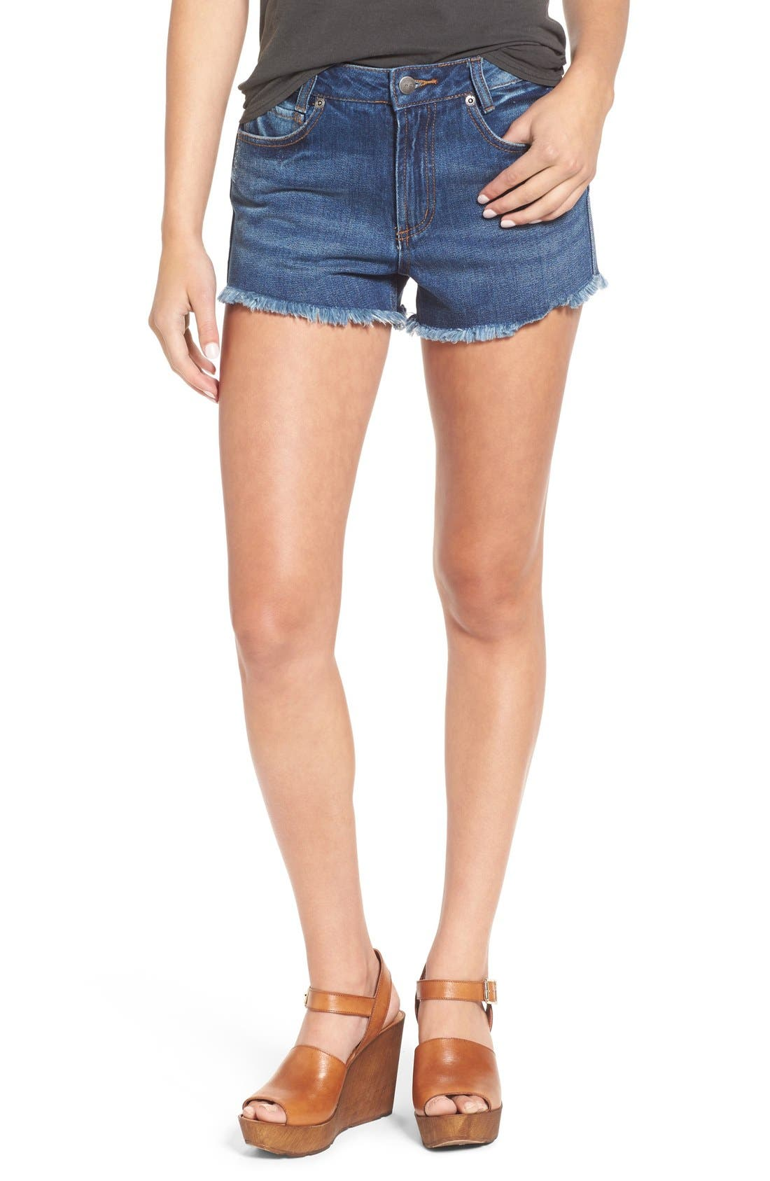 'Highly Vibed' Cutoff Denim Shorts,                         Main,                         color, 400