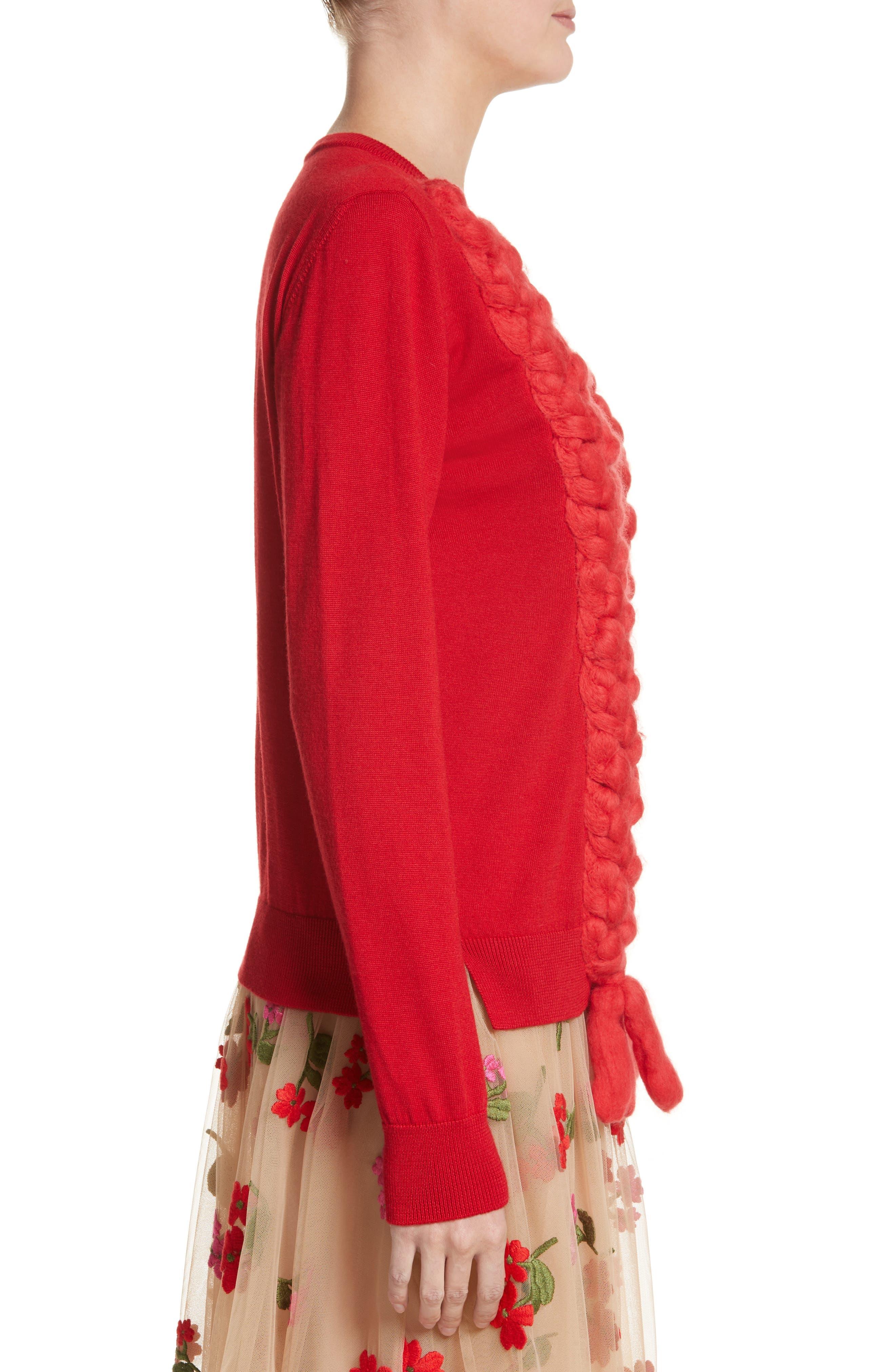 Felted Plait Merino, Silk & Cashmere Button Cardigan,                             Alternate thumbnail 3, color,                             600