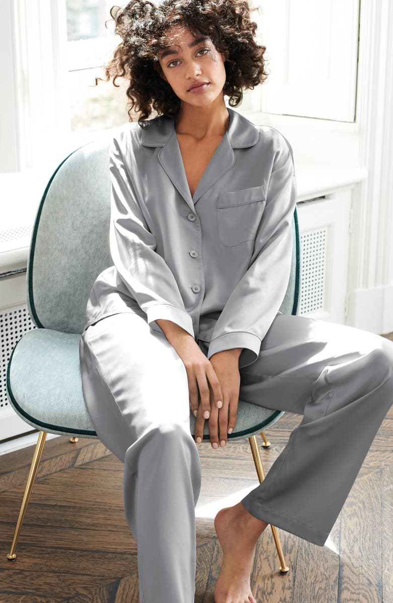 The White Company Piped Silk Pajamas | Nordstrom