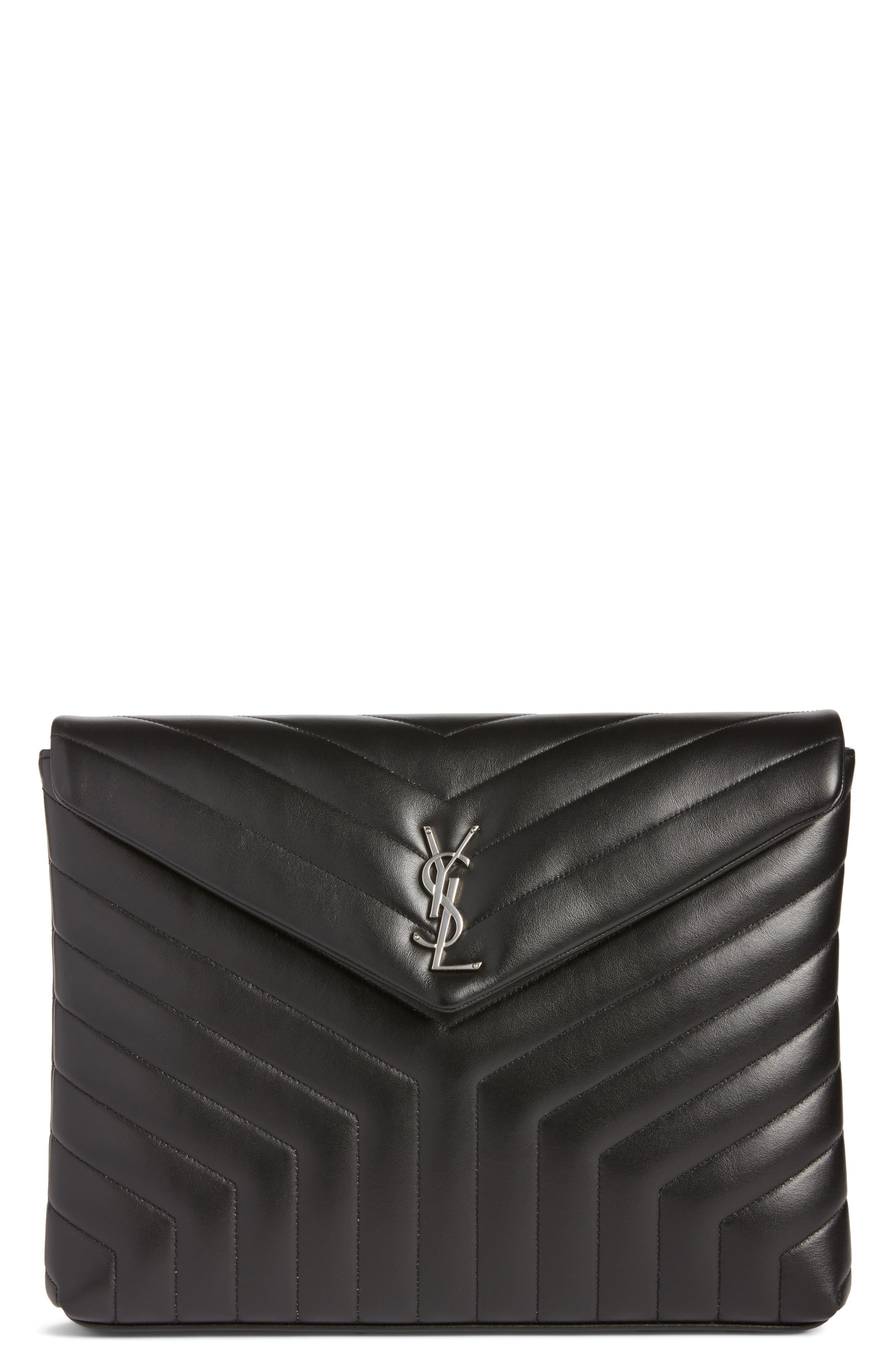 Large Loulou Matelassé Leather Pouch,                             Main thumbnail 1, color,                             001