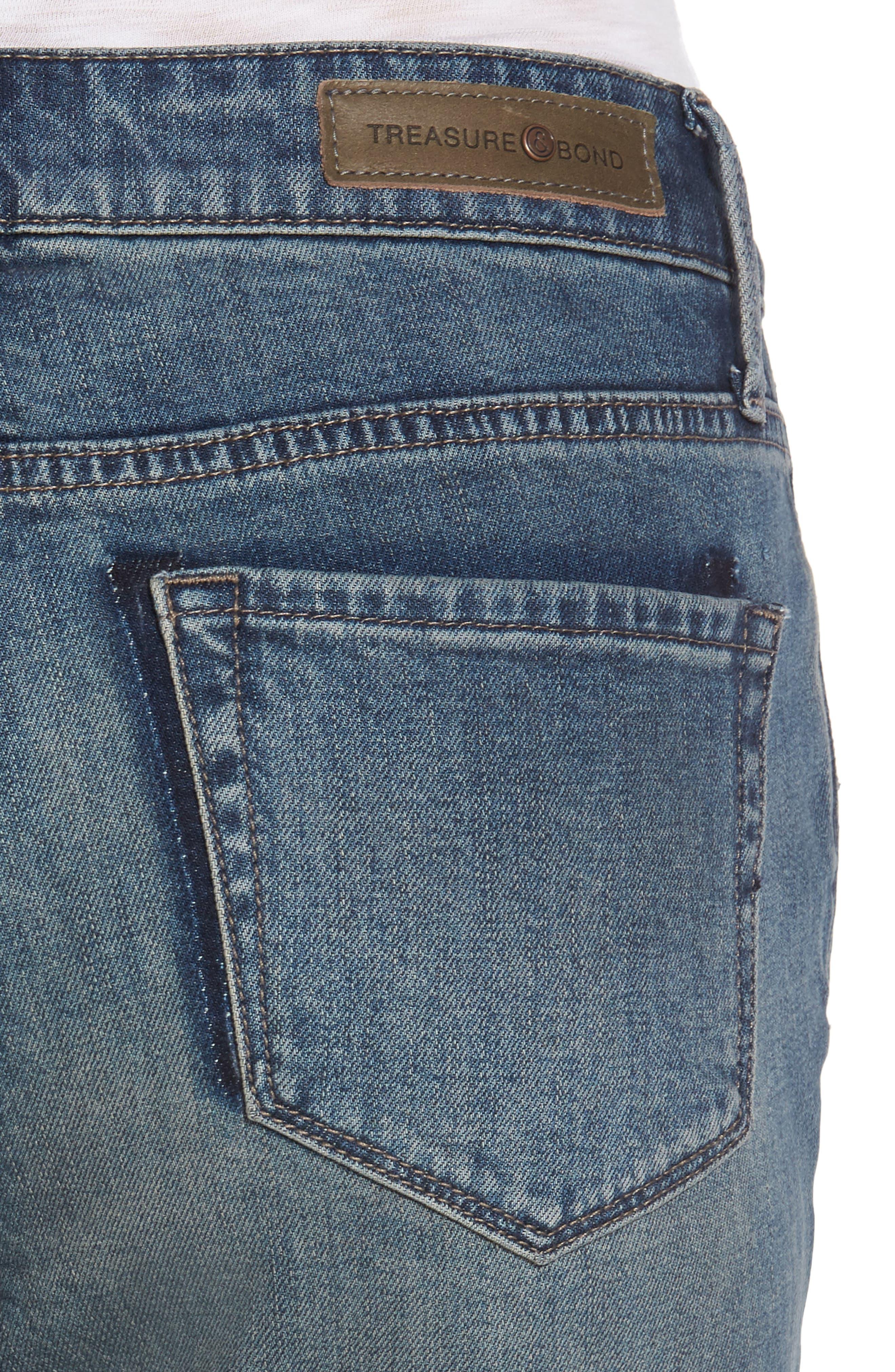 High Waist Skinny Crop Jeans,                             Alternate thumbnail 4, color,                             400