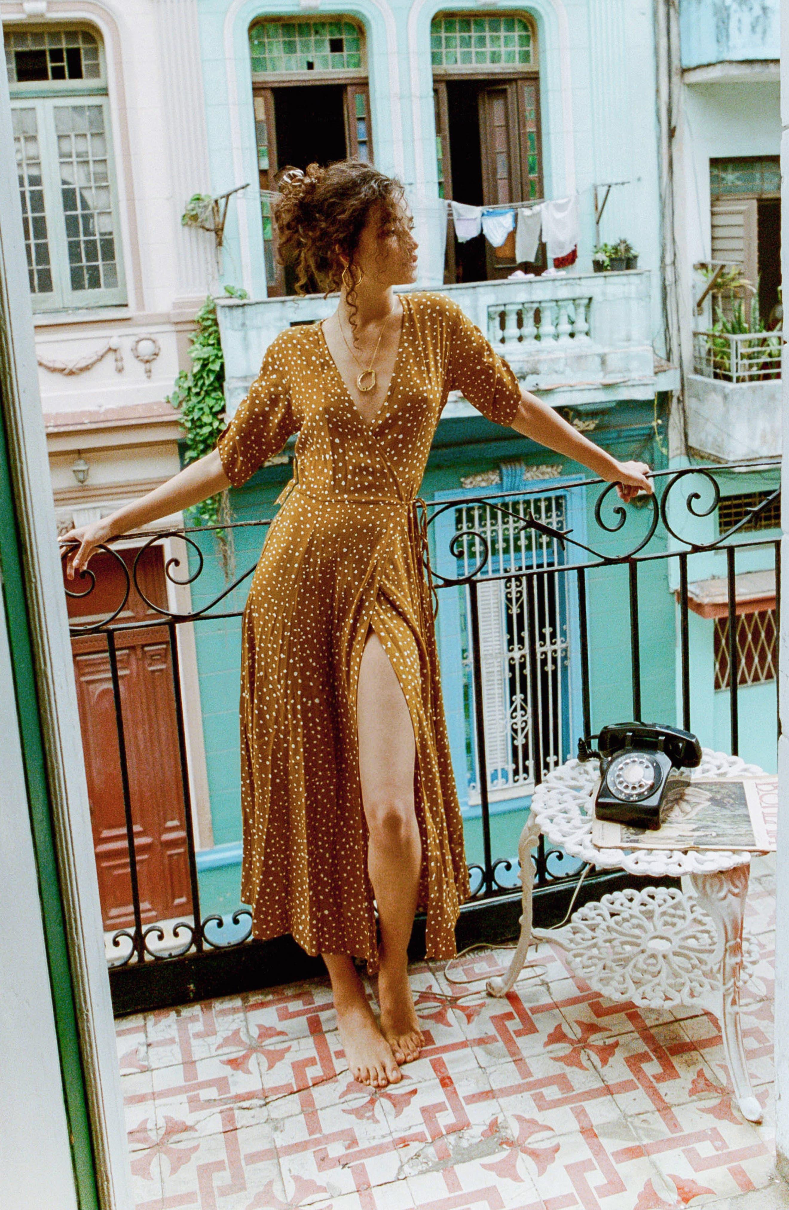 Chiara Dot Print Wrap Dress,                             Alternate thumbnail 7, color,                             700