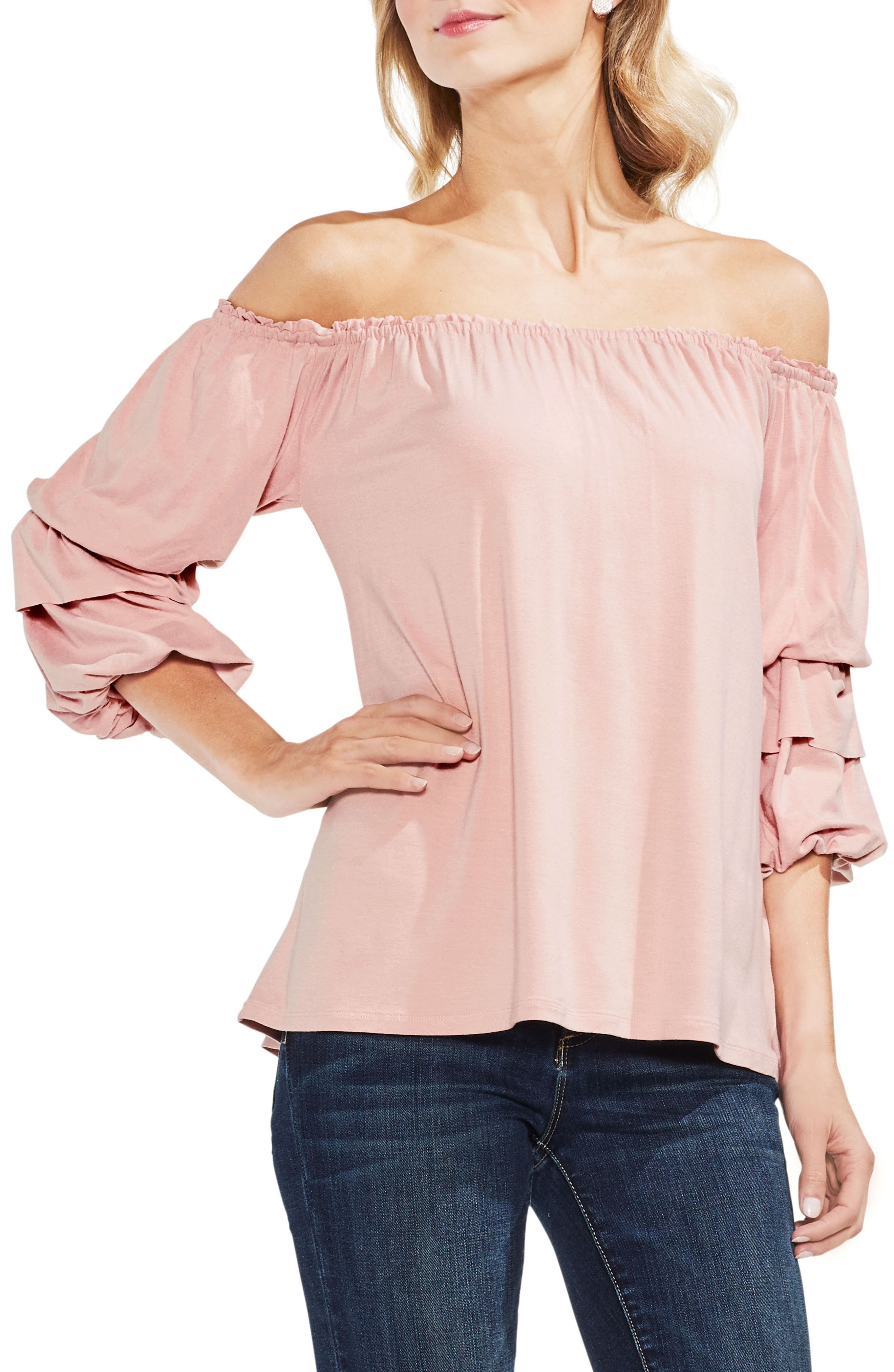 Off The Shoulder Tiered Top,                             Main thumbnail 2, color,