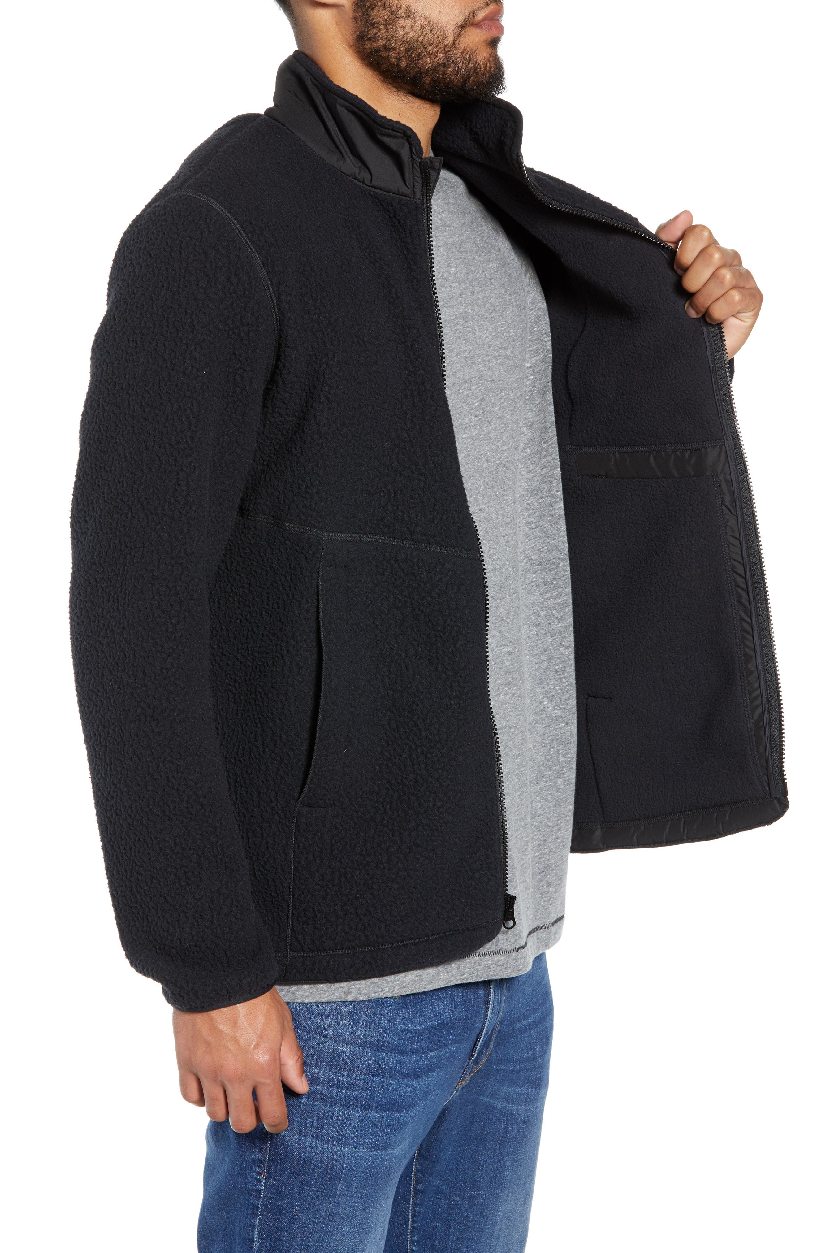 HERSCHEL SUPPLY CO.,                             Tech Fleece Jacket,                             Alternate thumbnail 3, color,                             001