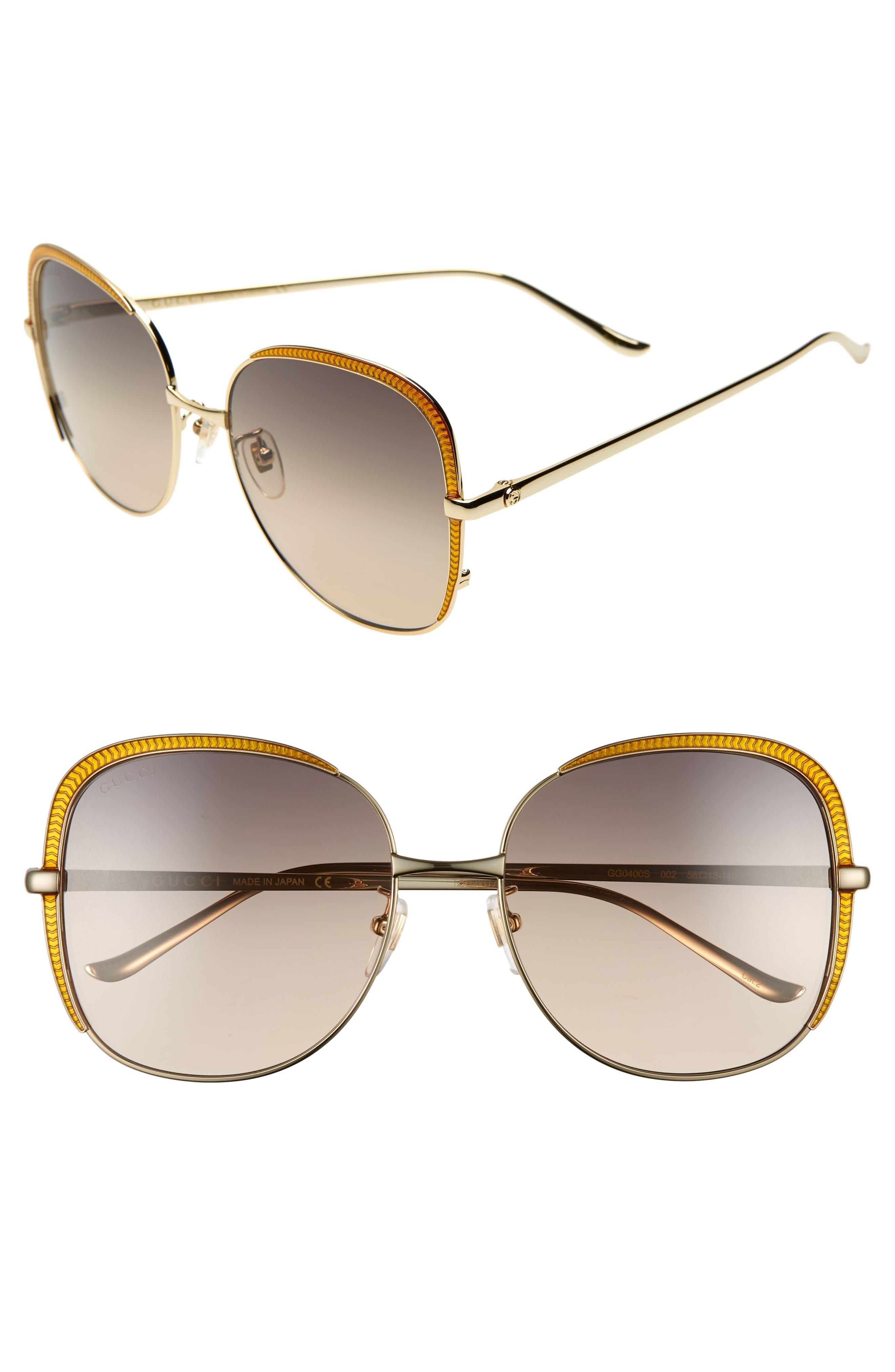 58mm Gradient Sunglasses, Main, color, GOLD/ PINK/ GREY GRADIENT