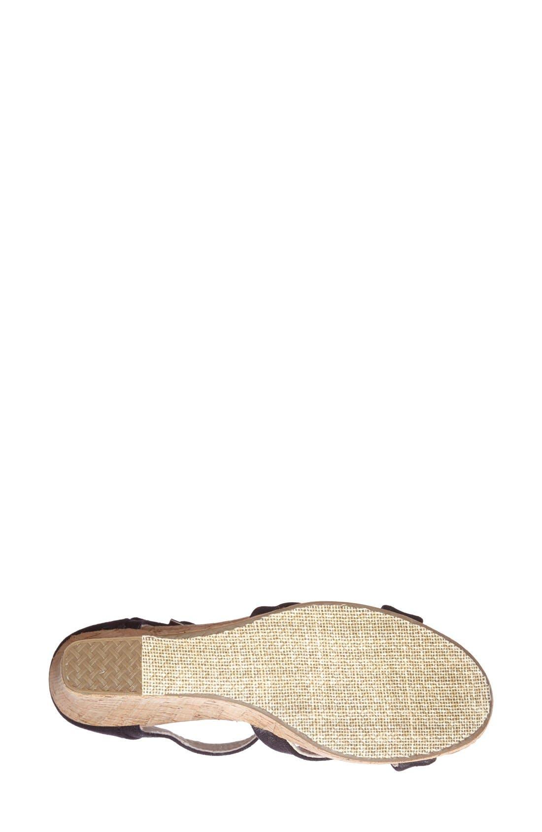 Canvas Ankle Strap Wedge Sandal,                             Alternate thumbnail 5, color,                             001