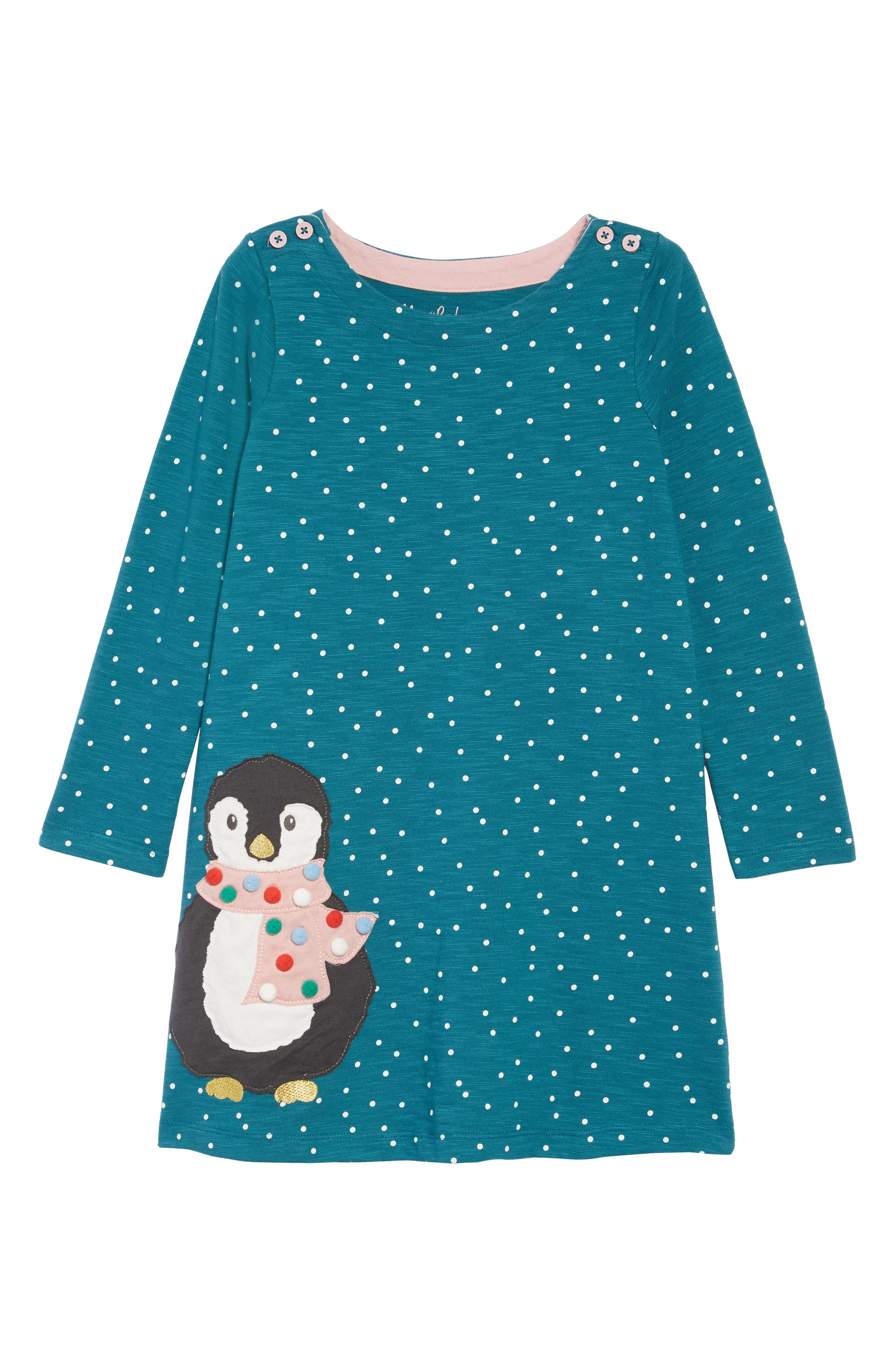 Mini Boden Spotty Animal Appliqué Dress,                             Main thumbnail 1, color,                             DGR DRAKE GREEN PENGUIN