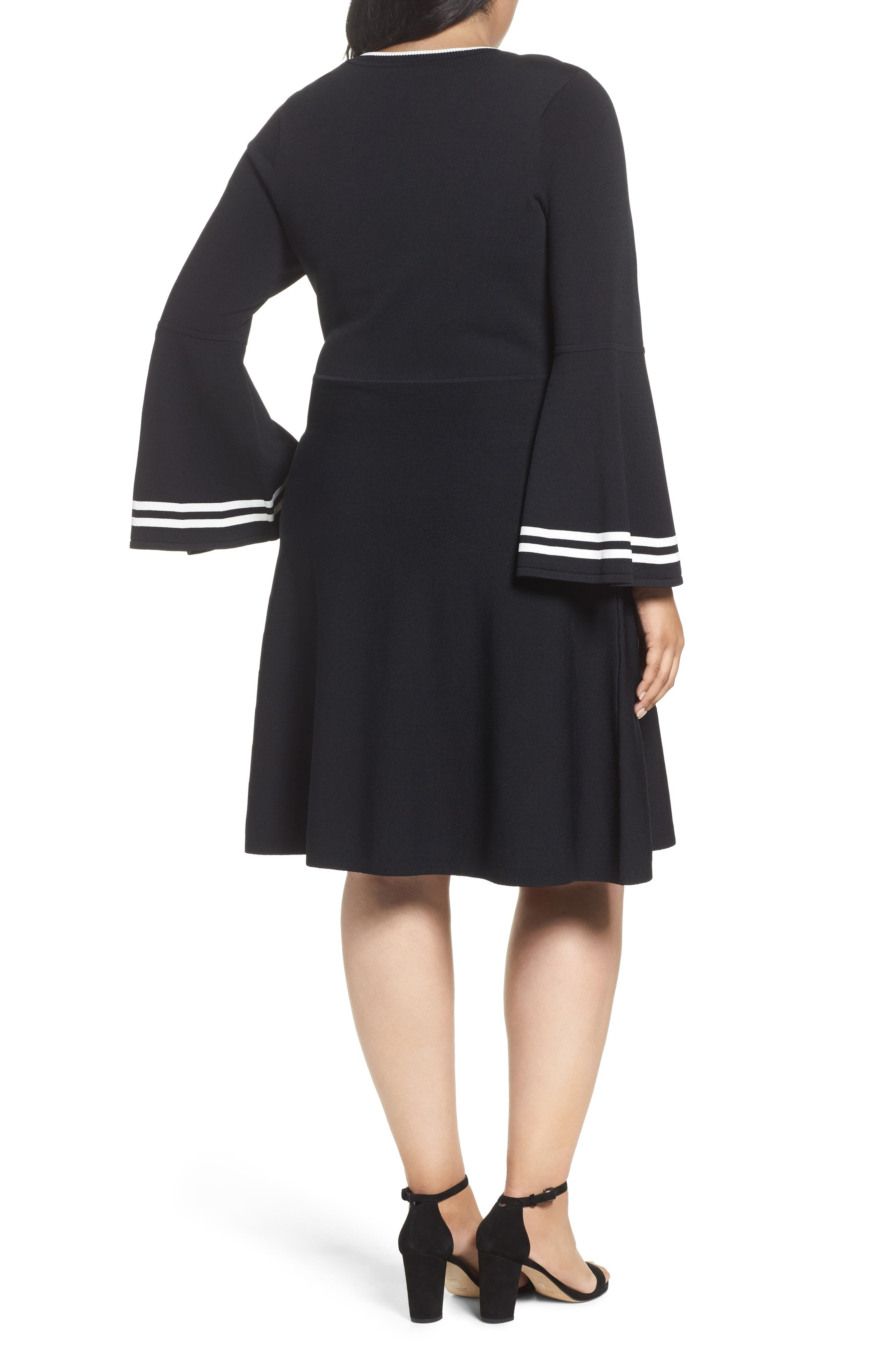 Bell Sleeve Fit & Flare Dress,                             Alternate thumbnail 2, color,                             006
