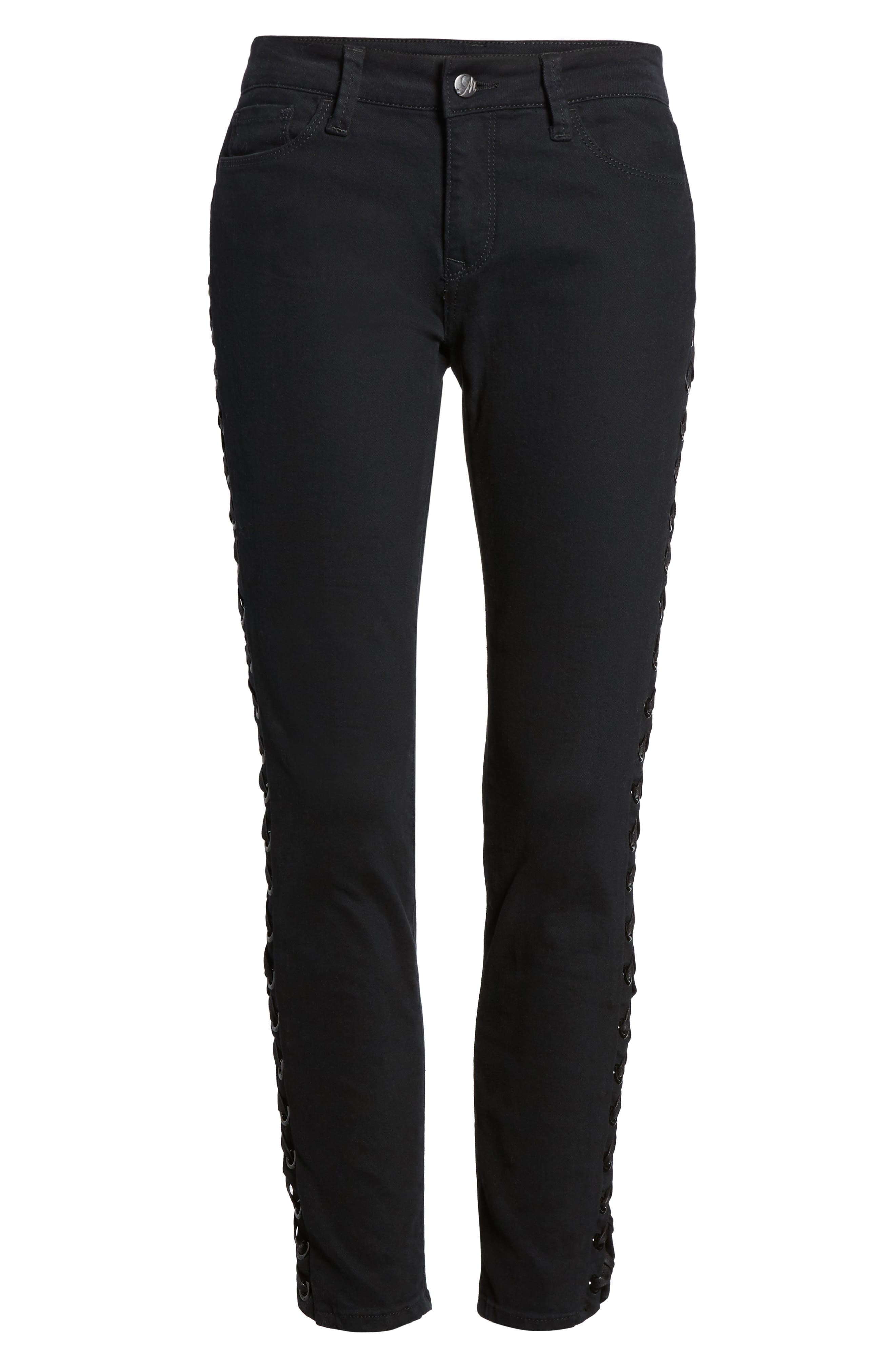 Adriana Lace-Up Super Skinny Jeans,                             Alternate thumbnail 6, color,                             001