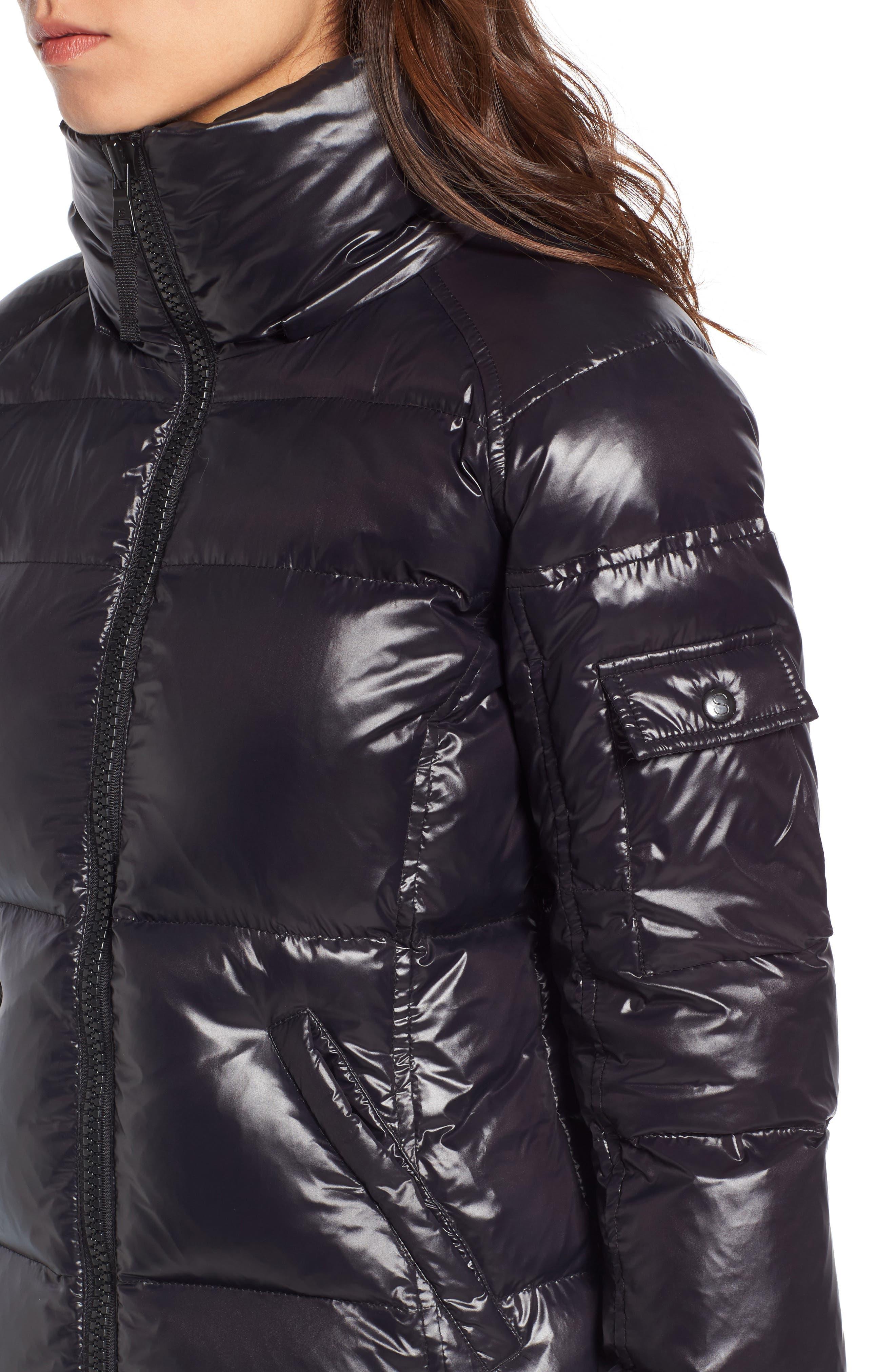Kylie Faux Fur Trim Gloss Puffer Jacket,                             Alternate thumbnail 23, color,