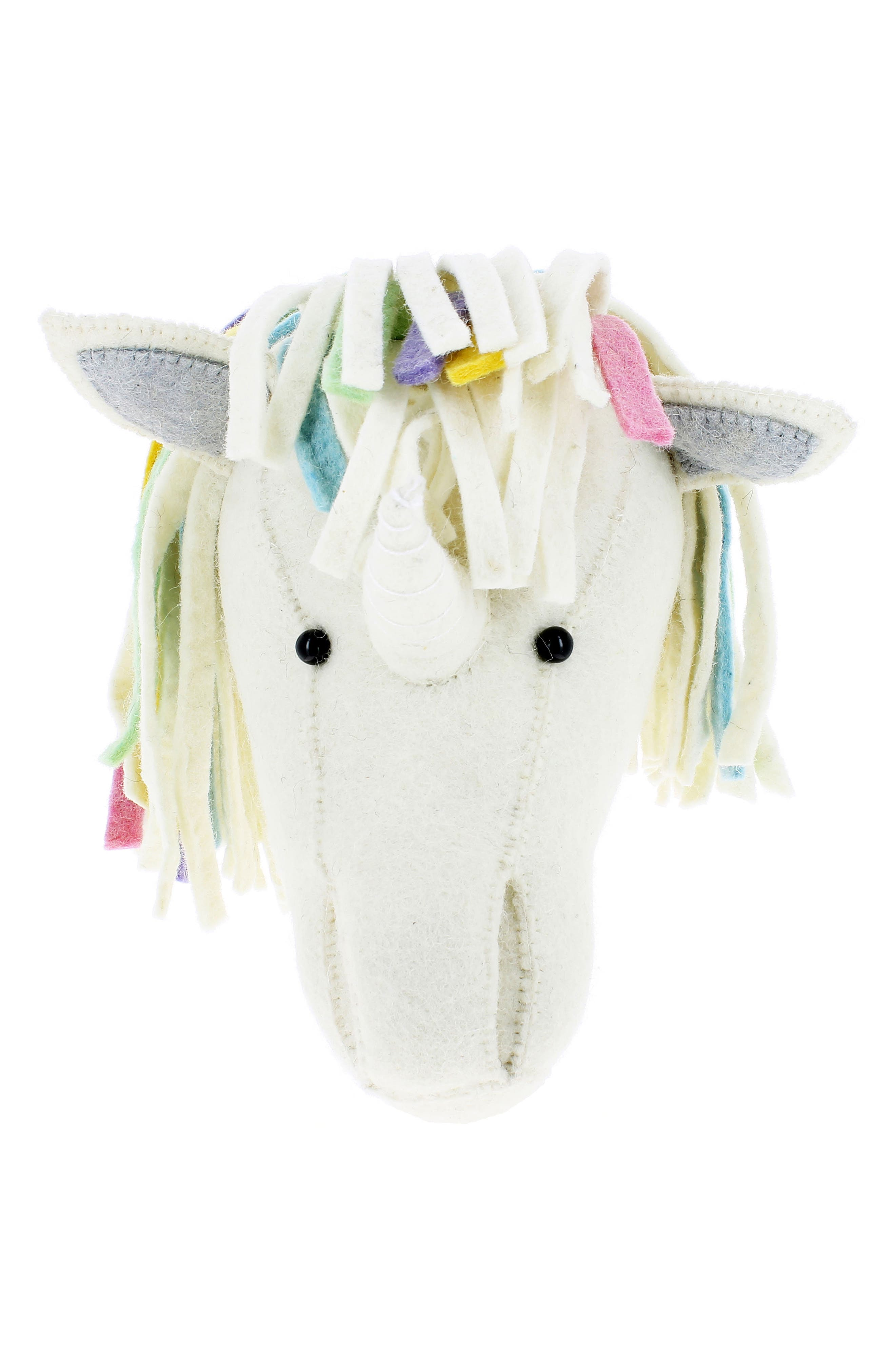 Rainbow Unicorn Head Wall Art,                         Main,                         color, CREAM