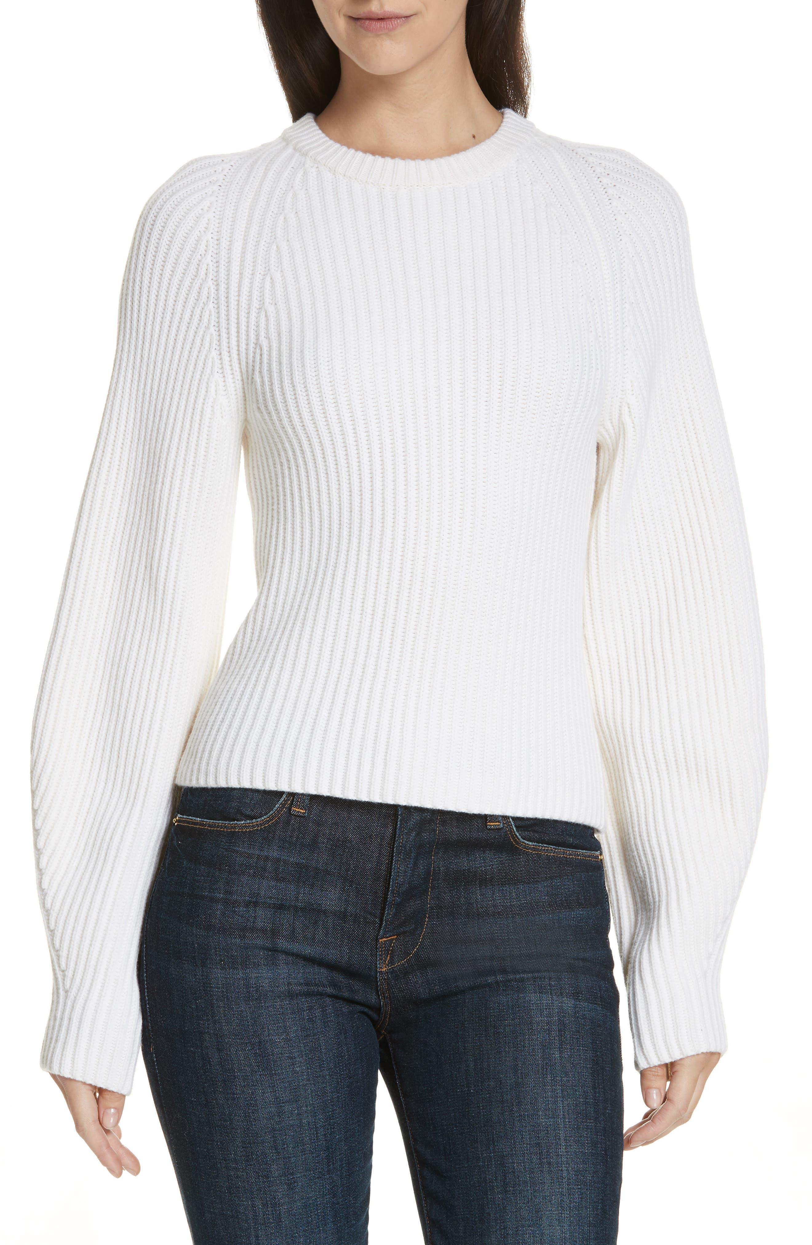 Theory Sculpted Sleeve Shaker Stitch Merino Wool Sweater, Ivory