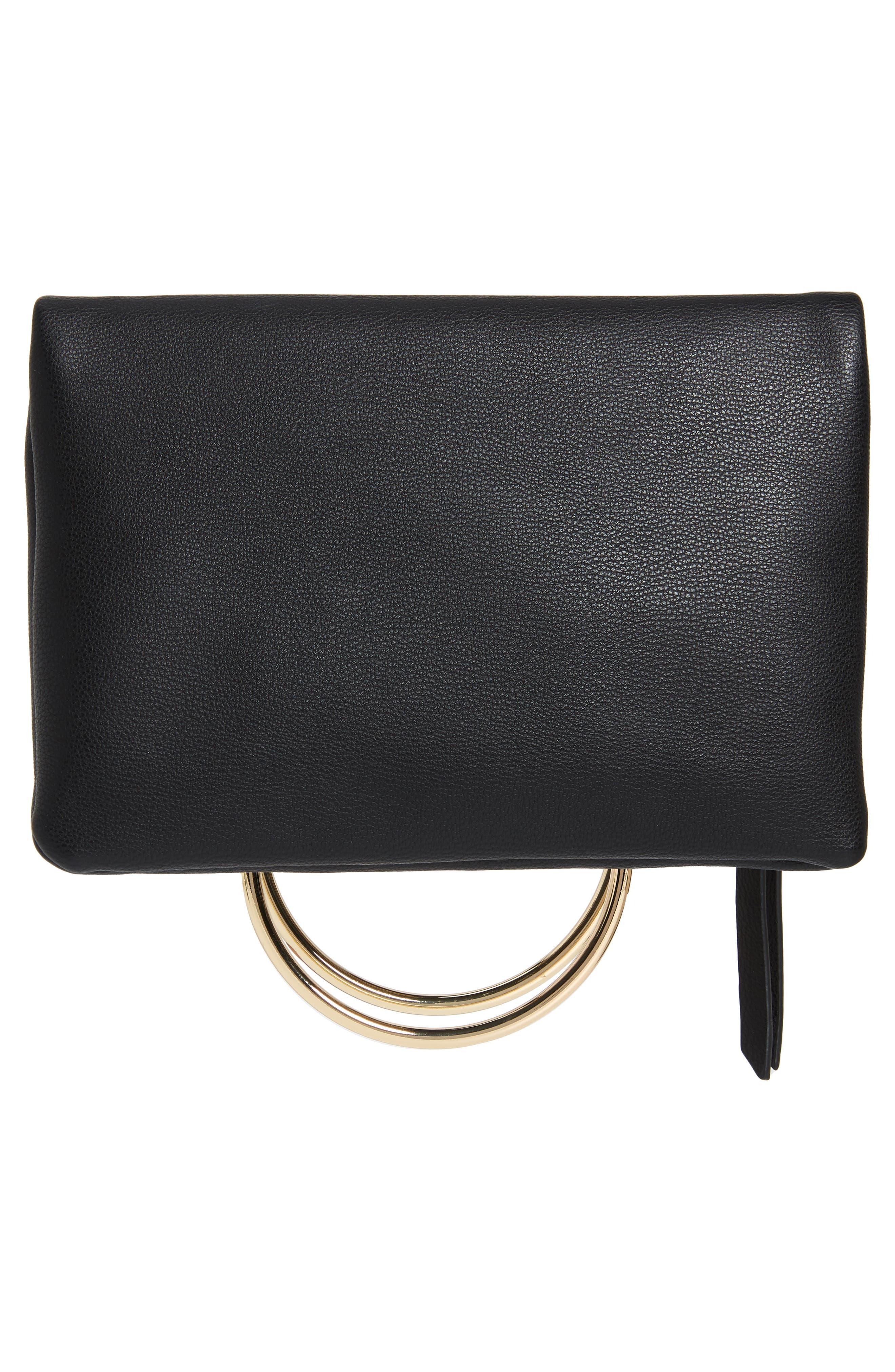 Skyler Faux Leather Foldover Clutch,                             Alternate thumbnail 3, color,                             BLACK