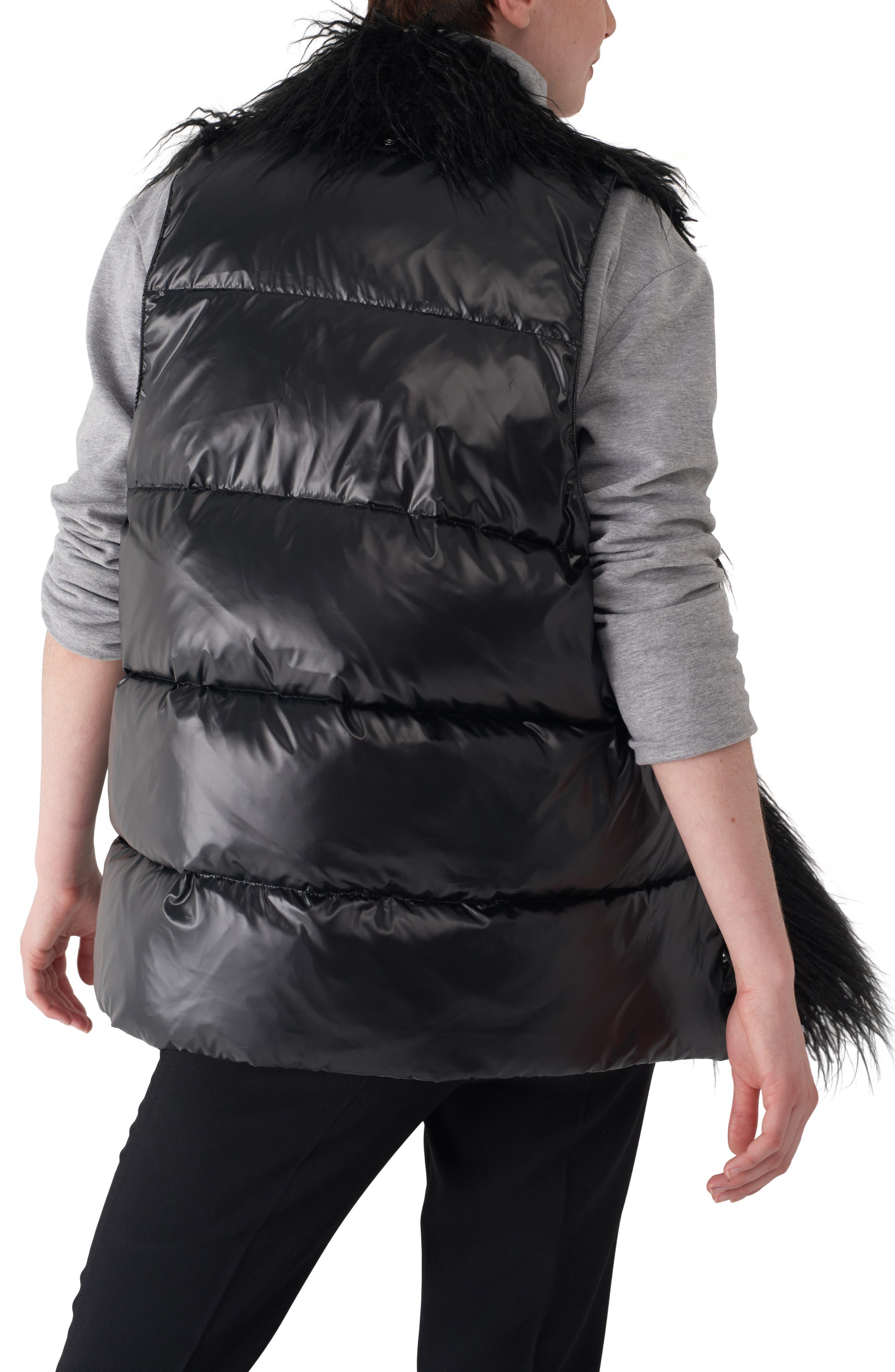 Gila Down & Faux Fur Vest,                             Alternate thumbnail 2, color,                             BLACK