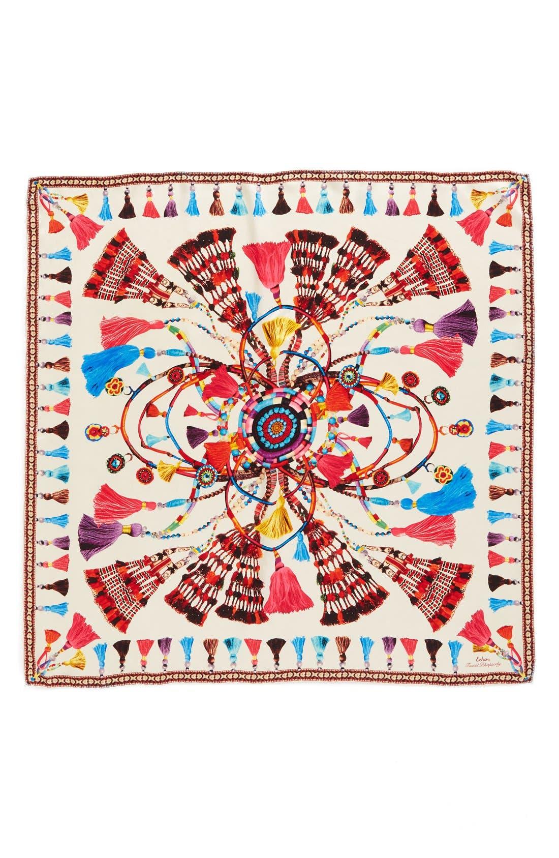 Tassel Rhapsody Silk Scarf,                             Alternate thumbnail 4, color,