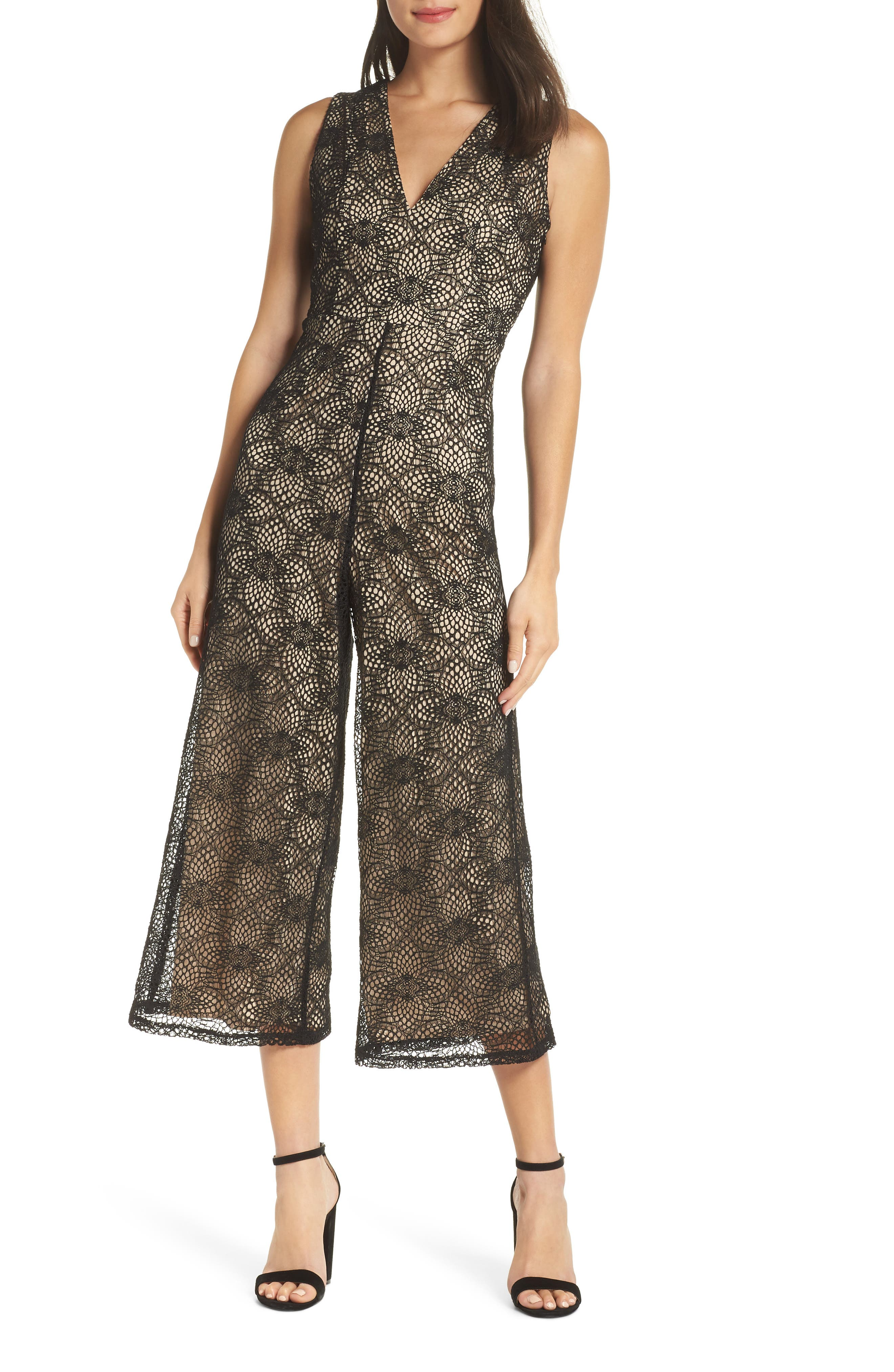 NSR Lucia Lace Jumpsuit in Black