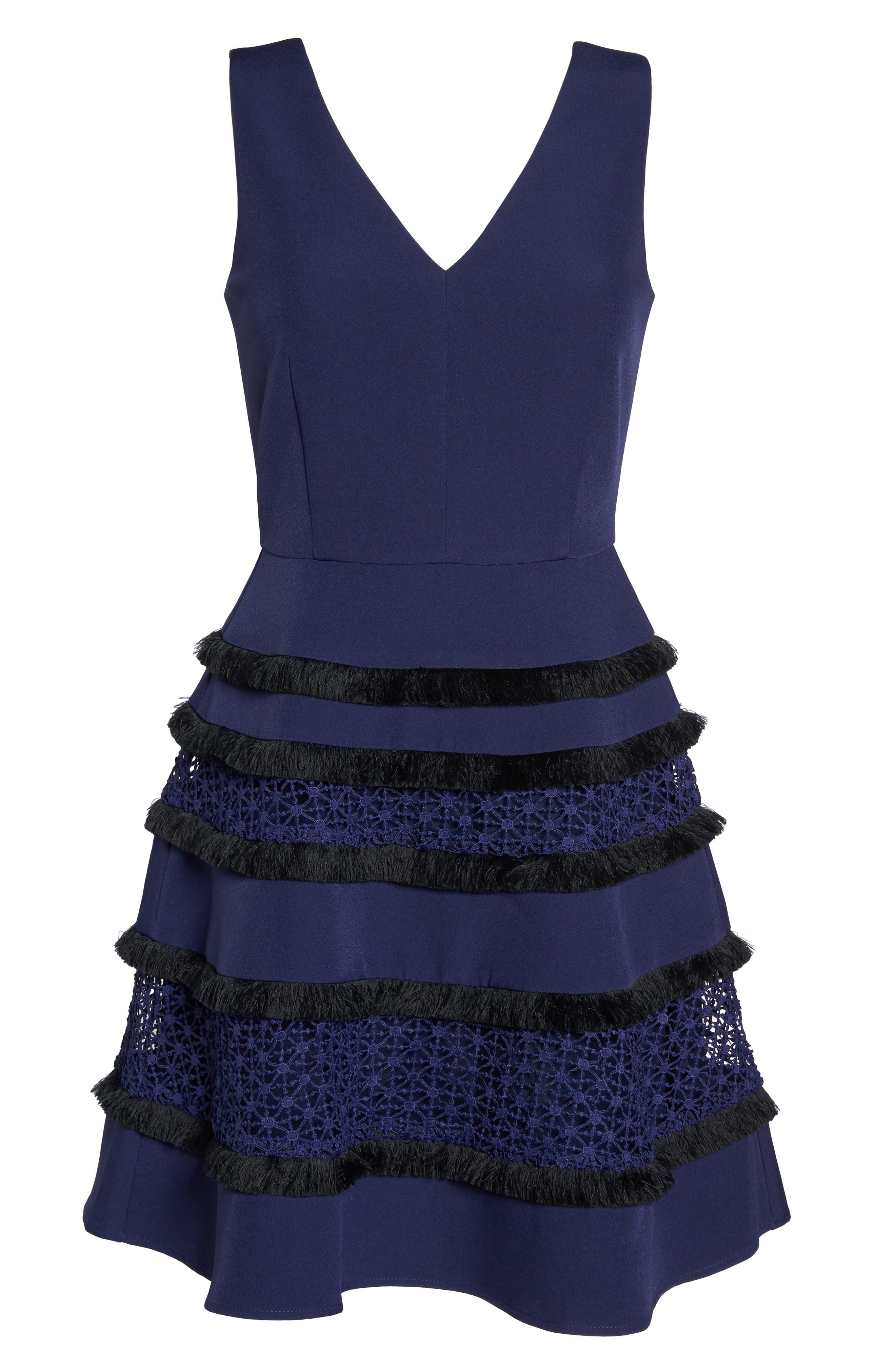 Stripe Fit & Flare Dress,                             Alternate thumbnail 6, color,                             410
