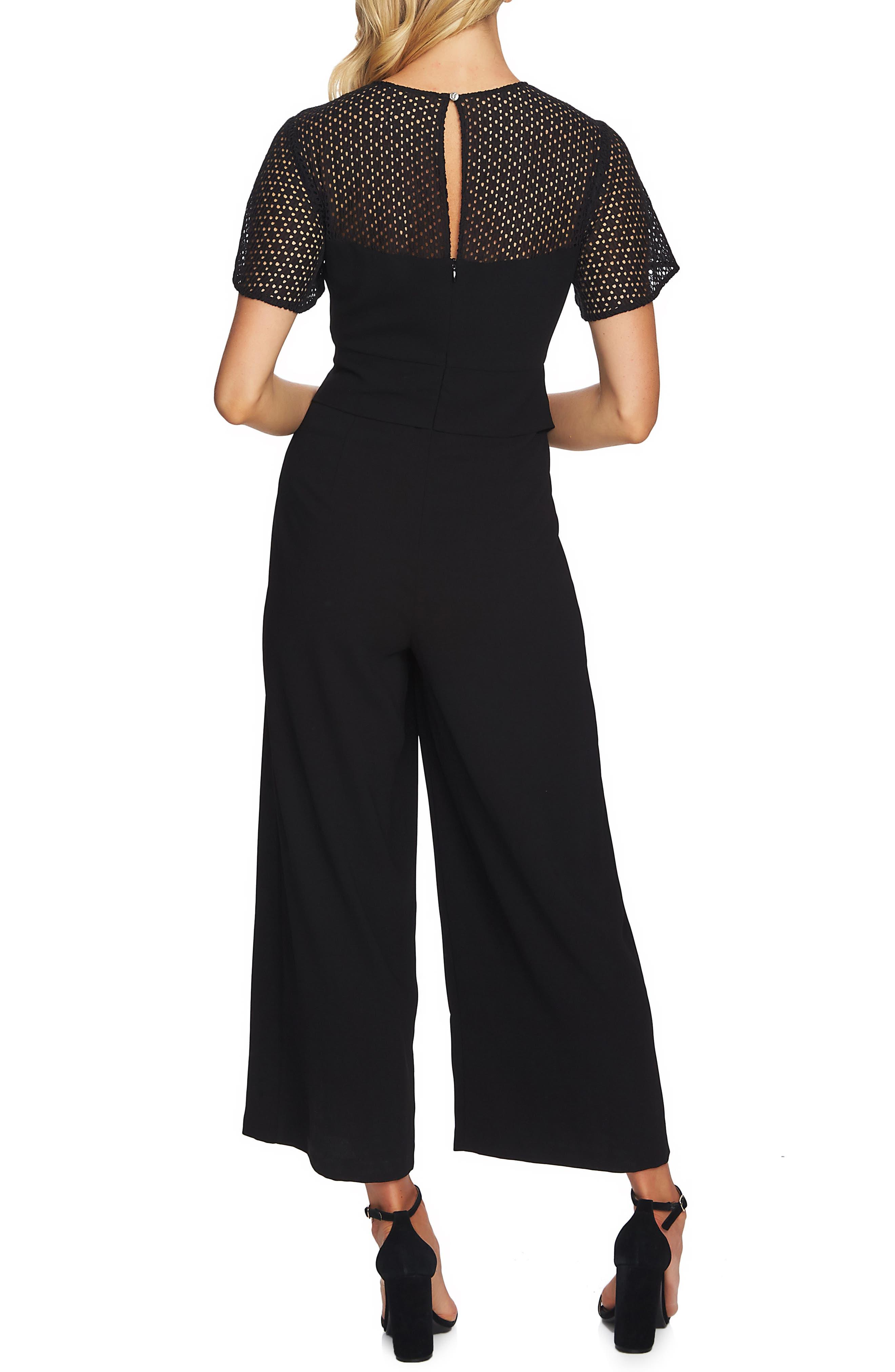 CECE,                             Mix Media Tie Waist Jumpsuit,                             Alternate thumbnail 2, color,                             RICH BLACK