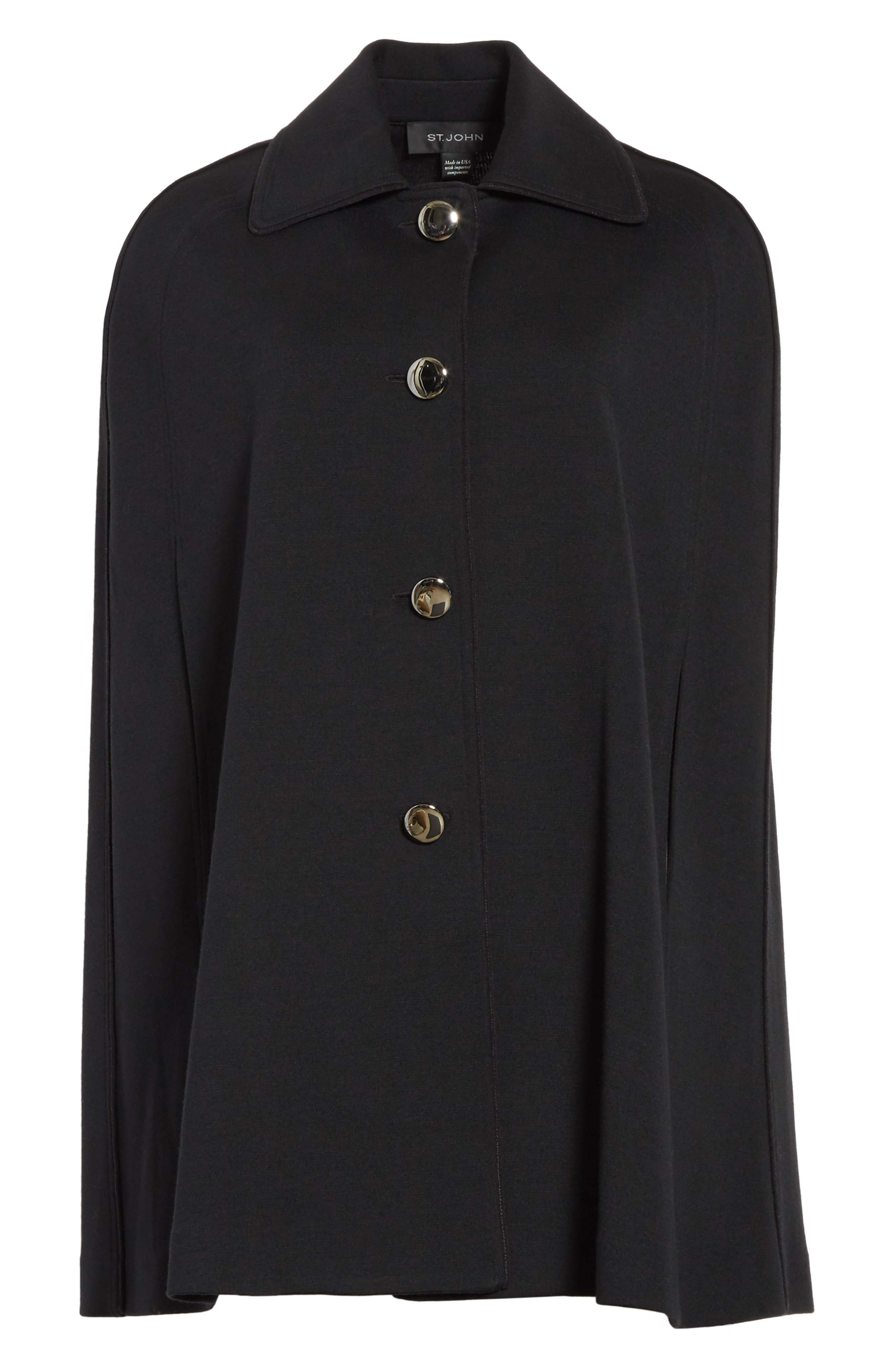 ST. JOHN COLLECTION,                             Milano Knit Collared Cape,                             Alternate thumbnail 5, color,                             001