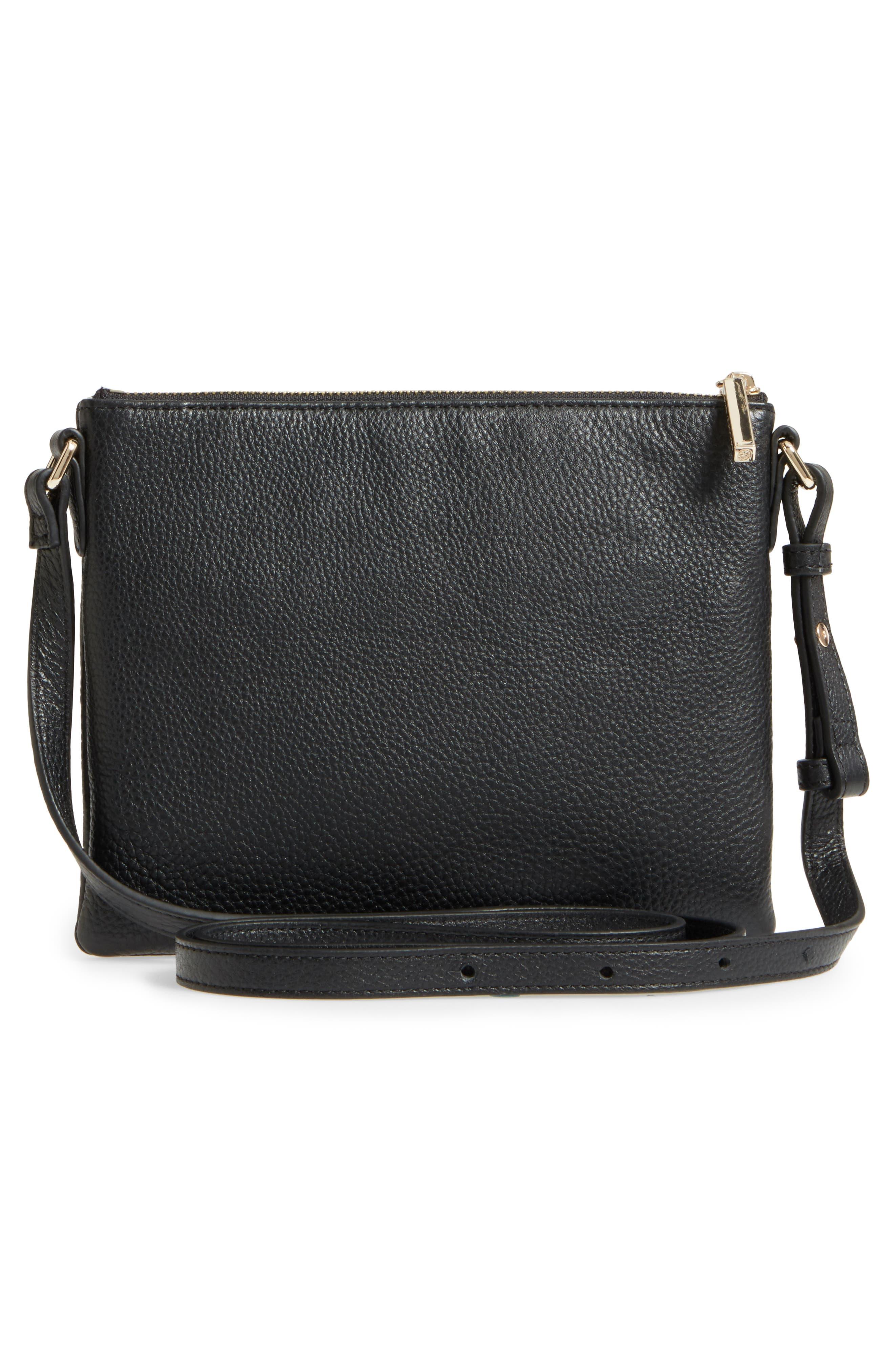 Céline Dion Adagio Leather Crossbody Bag,                             Alternate thumbnail 3, color,                             001