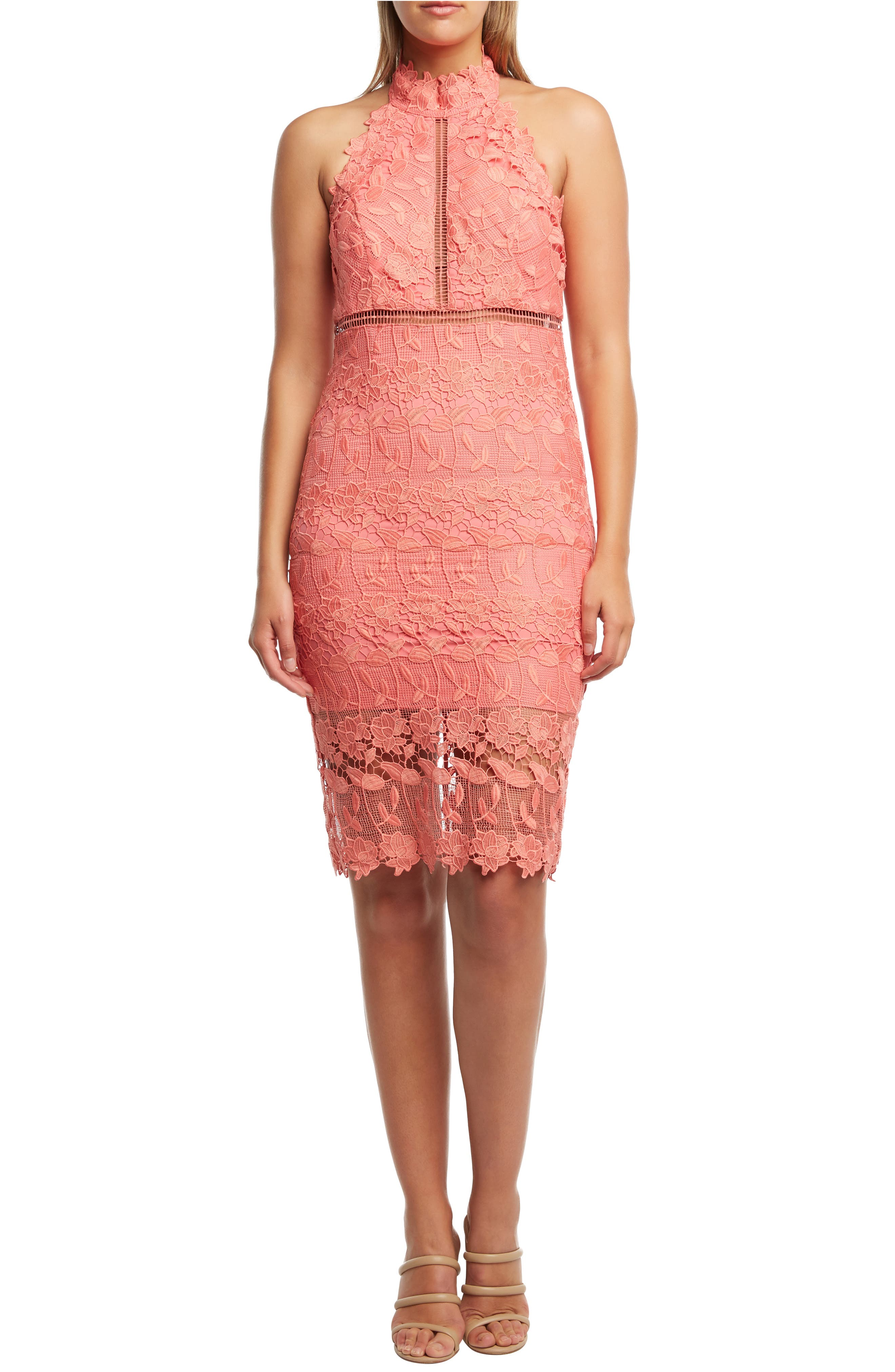 Bardot Noni Lace Halter Dress, Orange