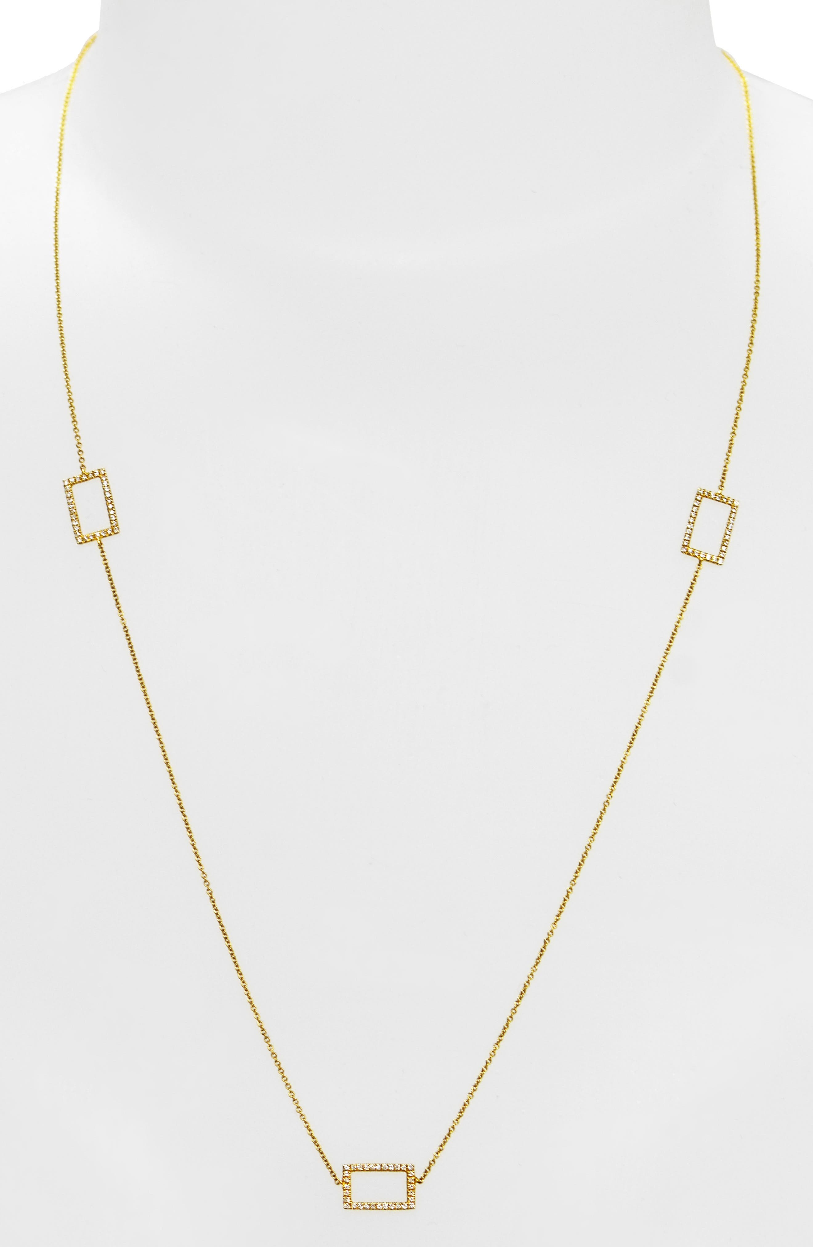 Three Rectangle Diamond Station Necklace,                             Alternate thumbnail 2, color,                             YELLOW GOLD