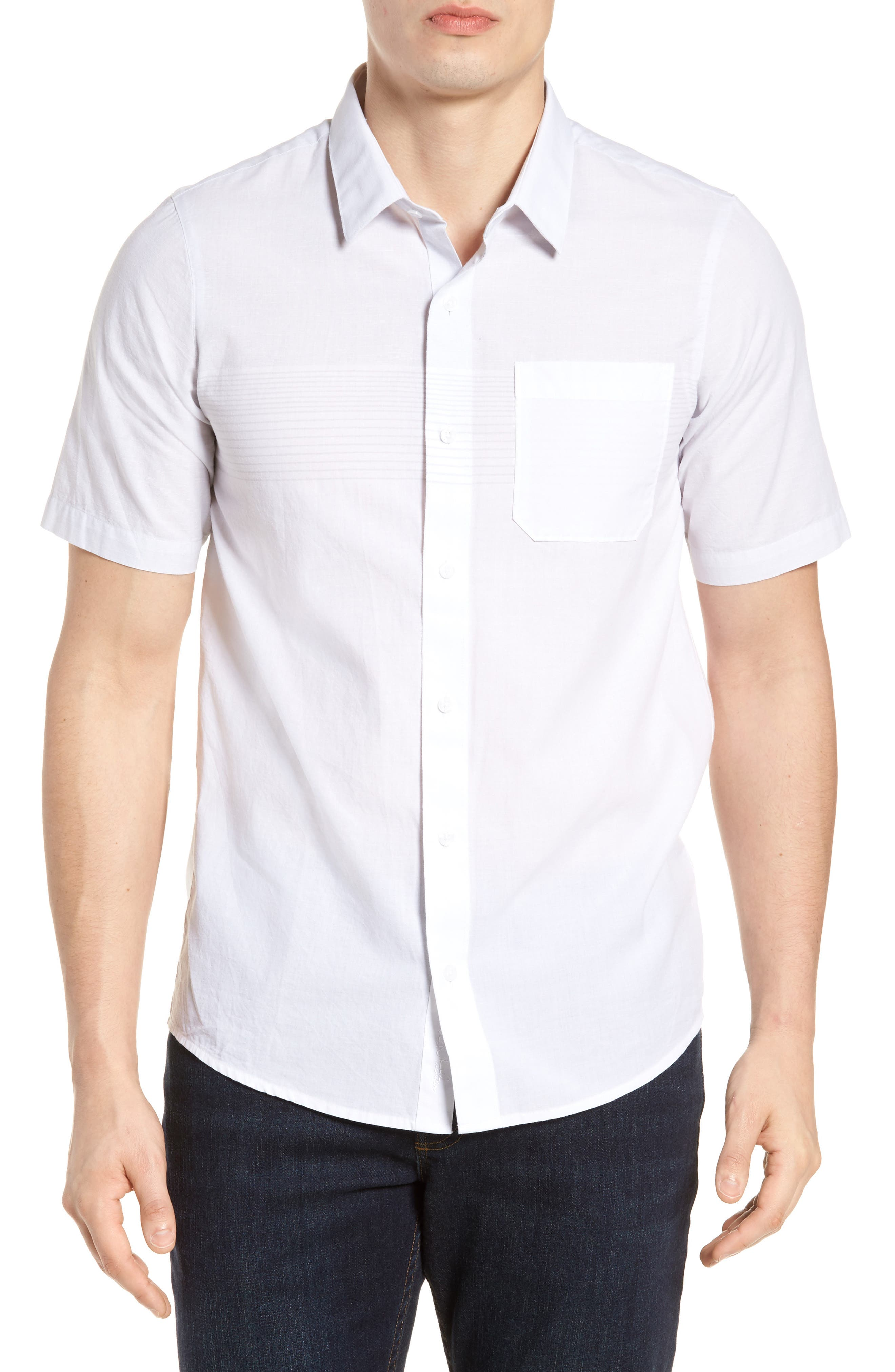 Charlie Pinstripe Woven Shirt,                         Main,                         color, 100