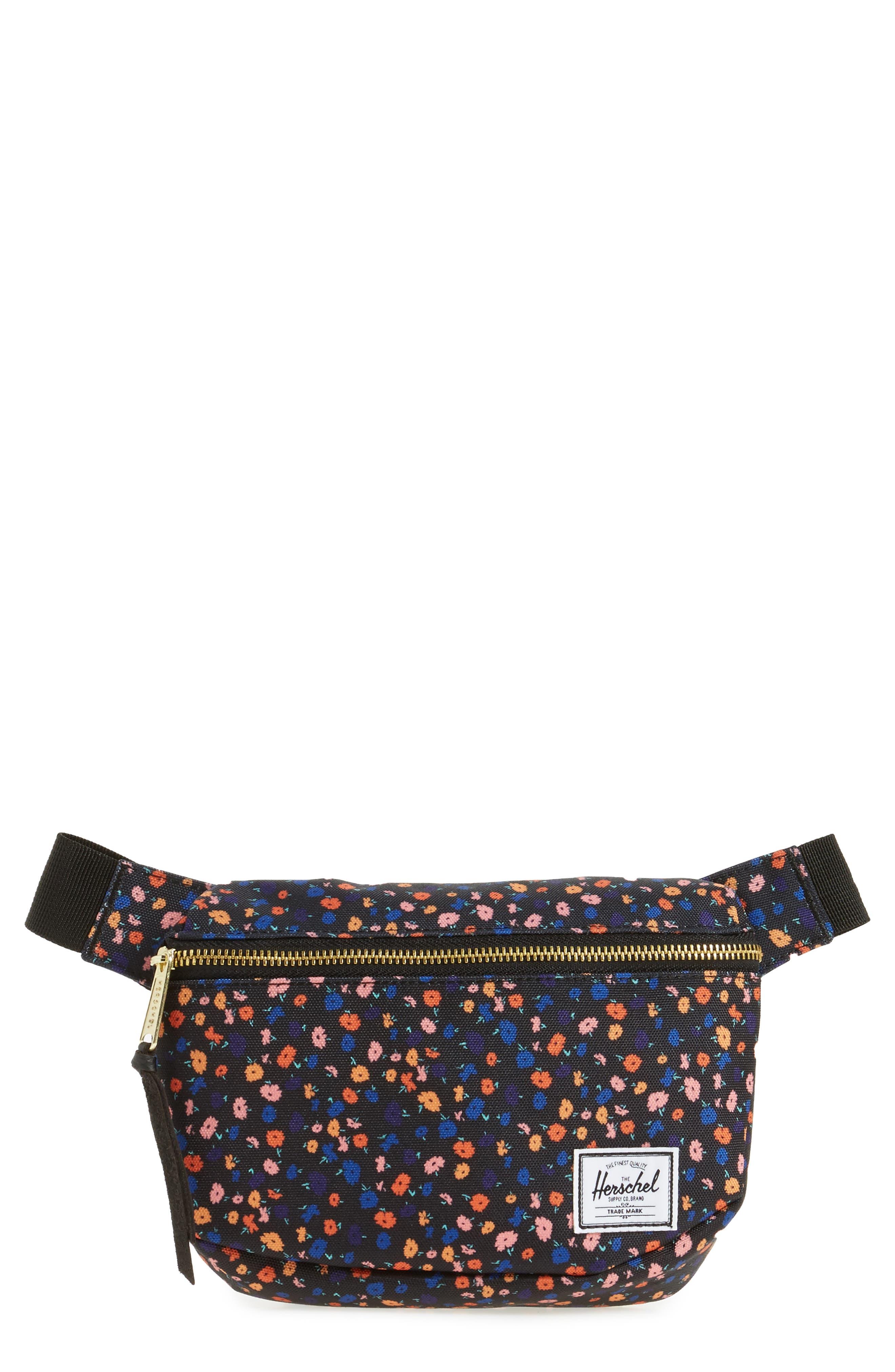 Fifteen Belt Bag,                             Main thumbnail 1, color,                             BLACK MINI FLORAL